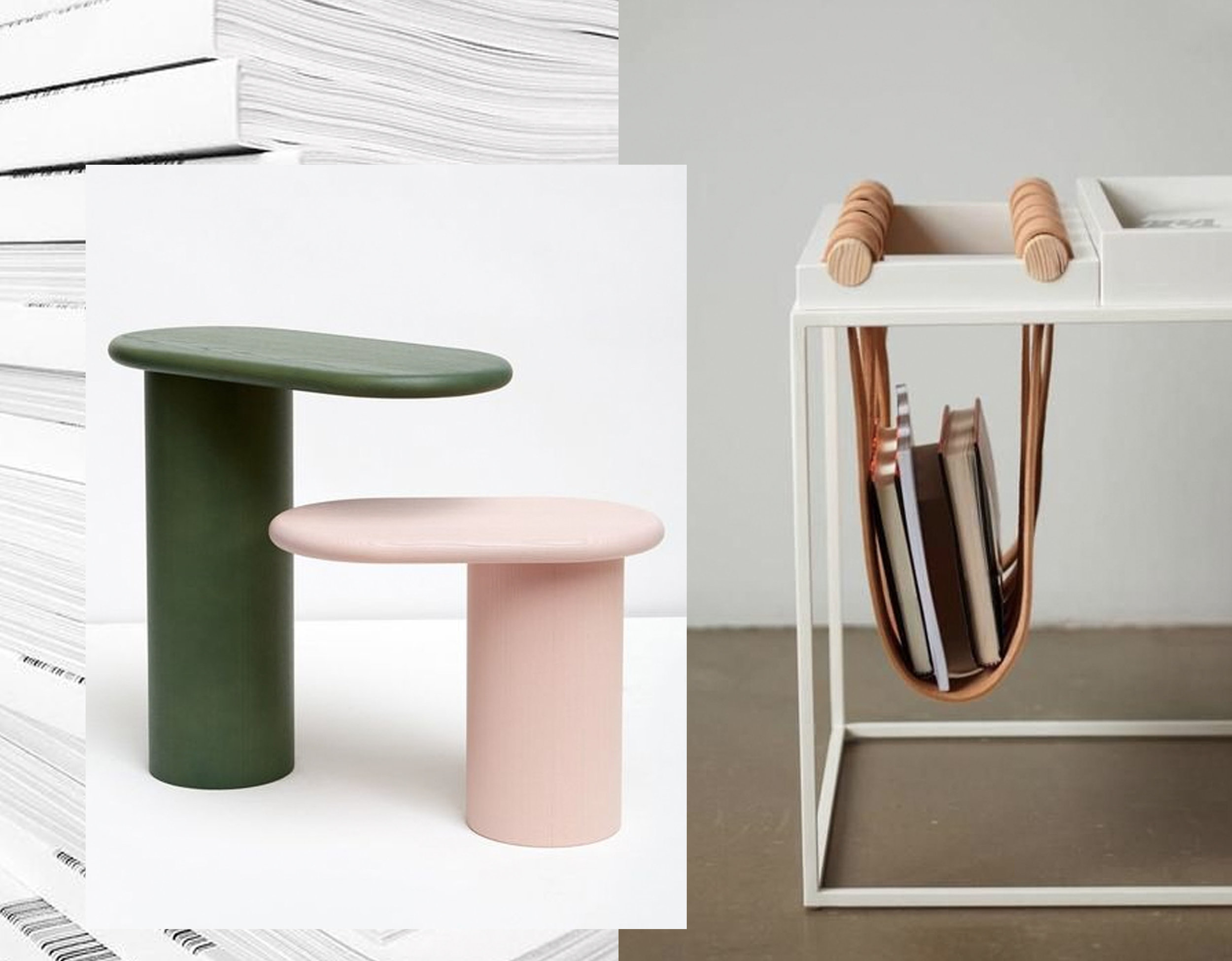 pile of magazines via   Instagram   - Cantilever side tables Monologue  - small table via  Dezignsavvy