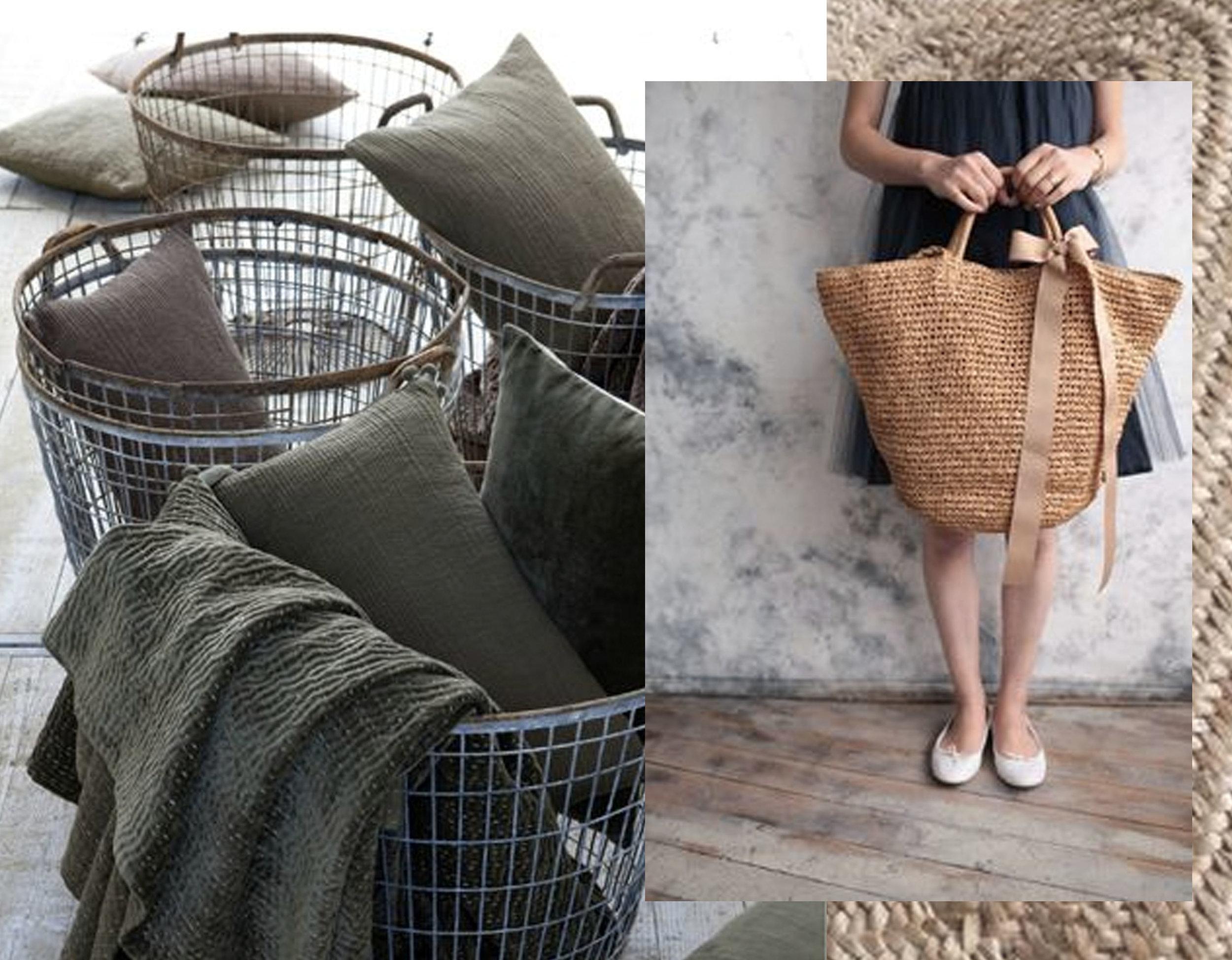 wire baskets via  Pinimg  - handbag via  Elle Est Belle