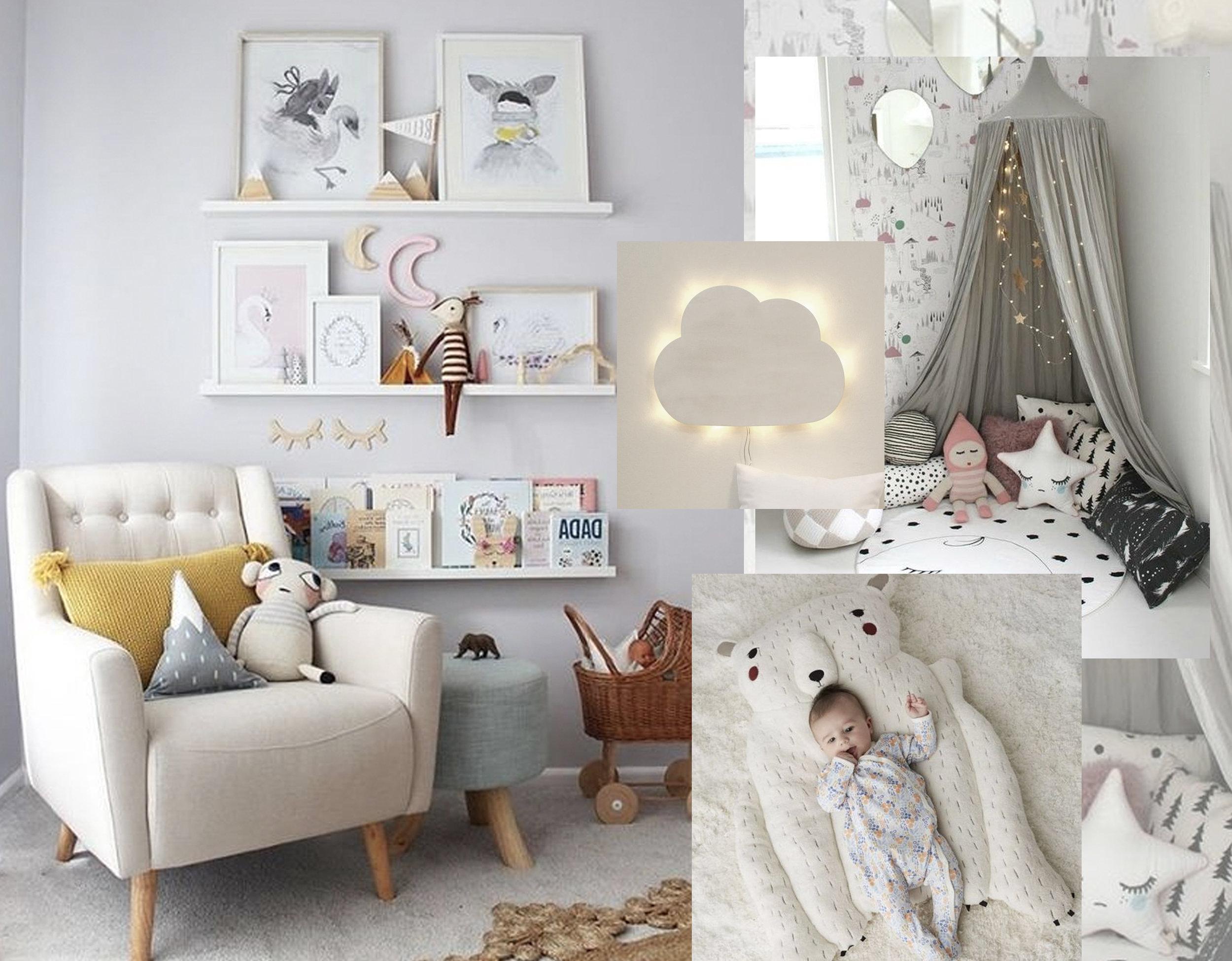 reading corner nursery via  Instagram  - tent via  Pinimg  - cloud lamp via  Dawanda  - Polar Bear  Crate & Barrel