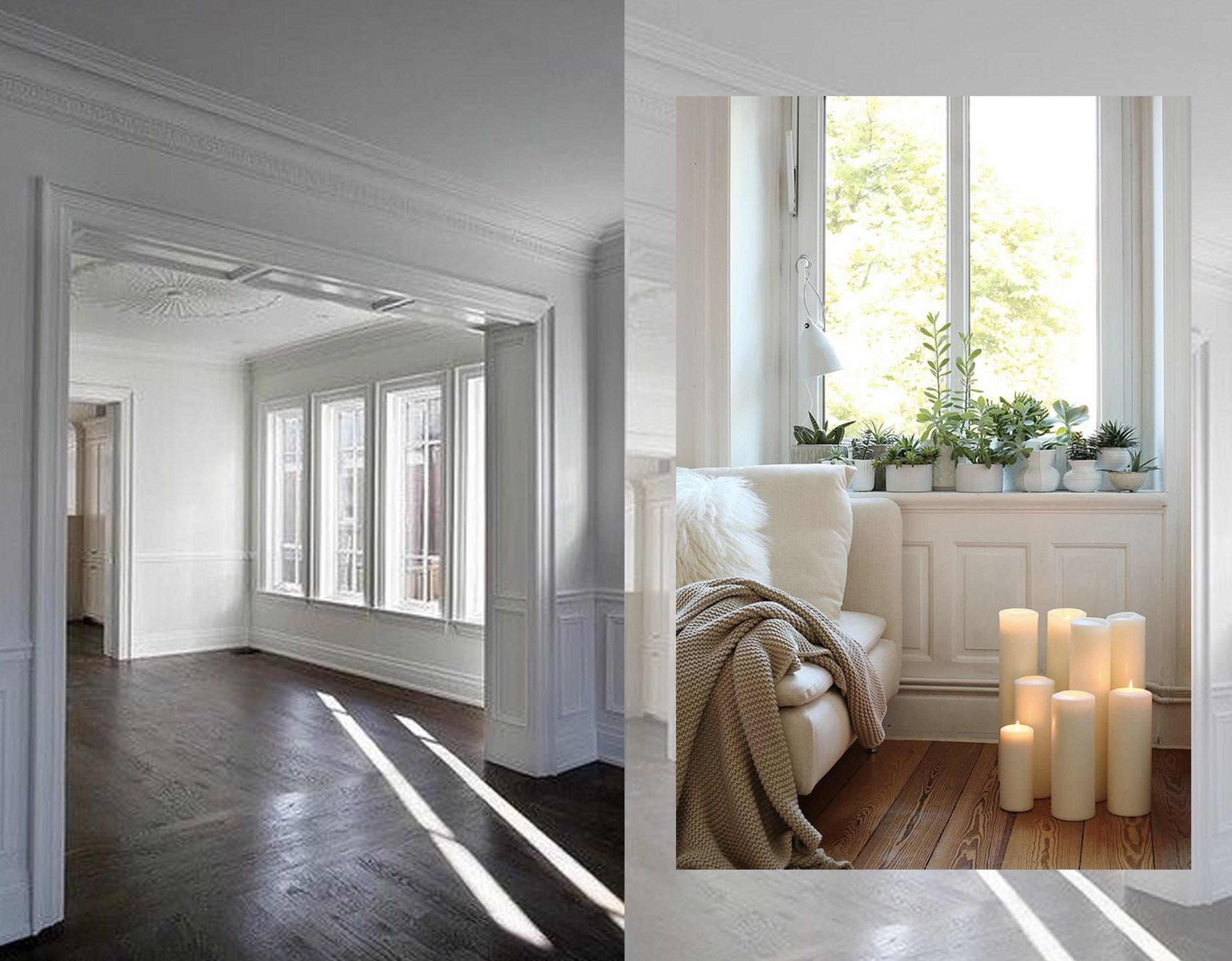 empty house via  Houzz  - cozy interior via  Interiorizm
