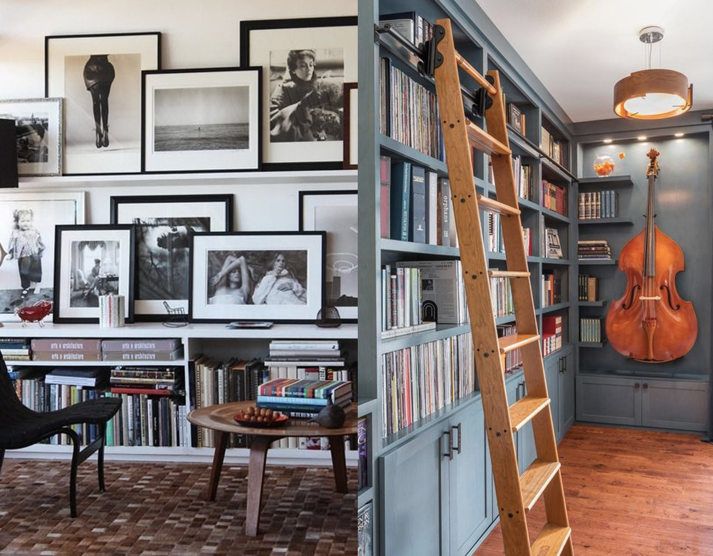 picture wall - library via  Houzz