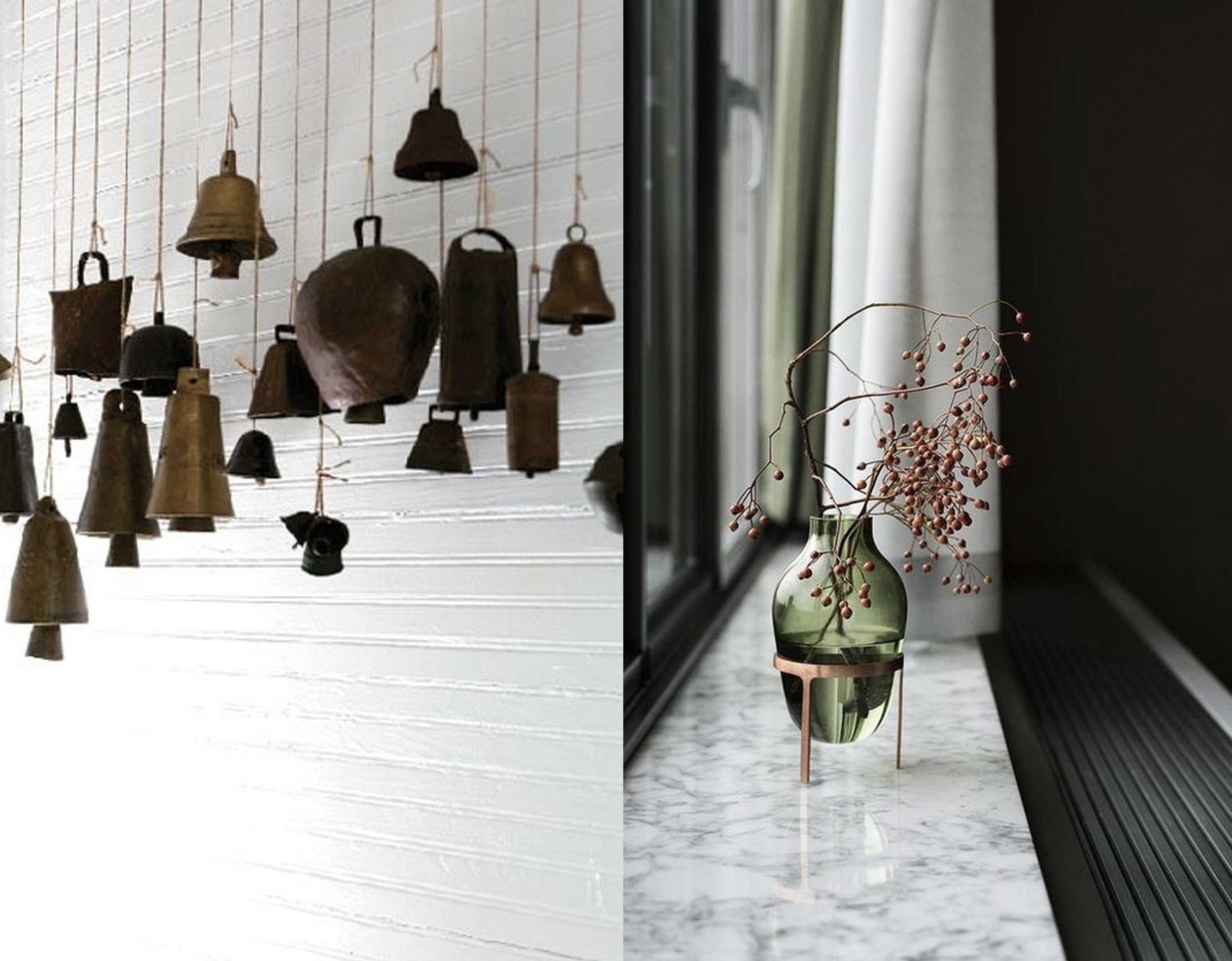 collection of bells via  Vintage Luxe  - small vase decor via  Design Inspiration
