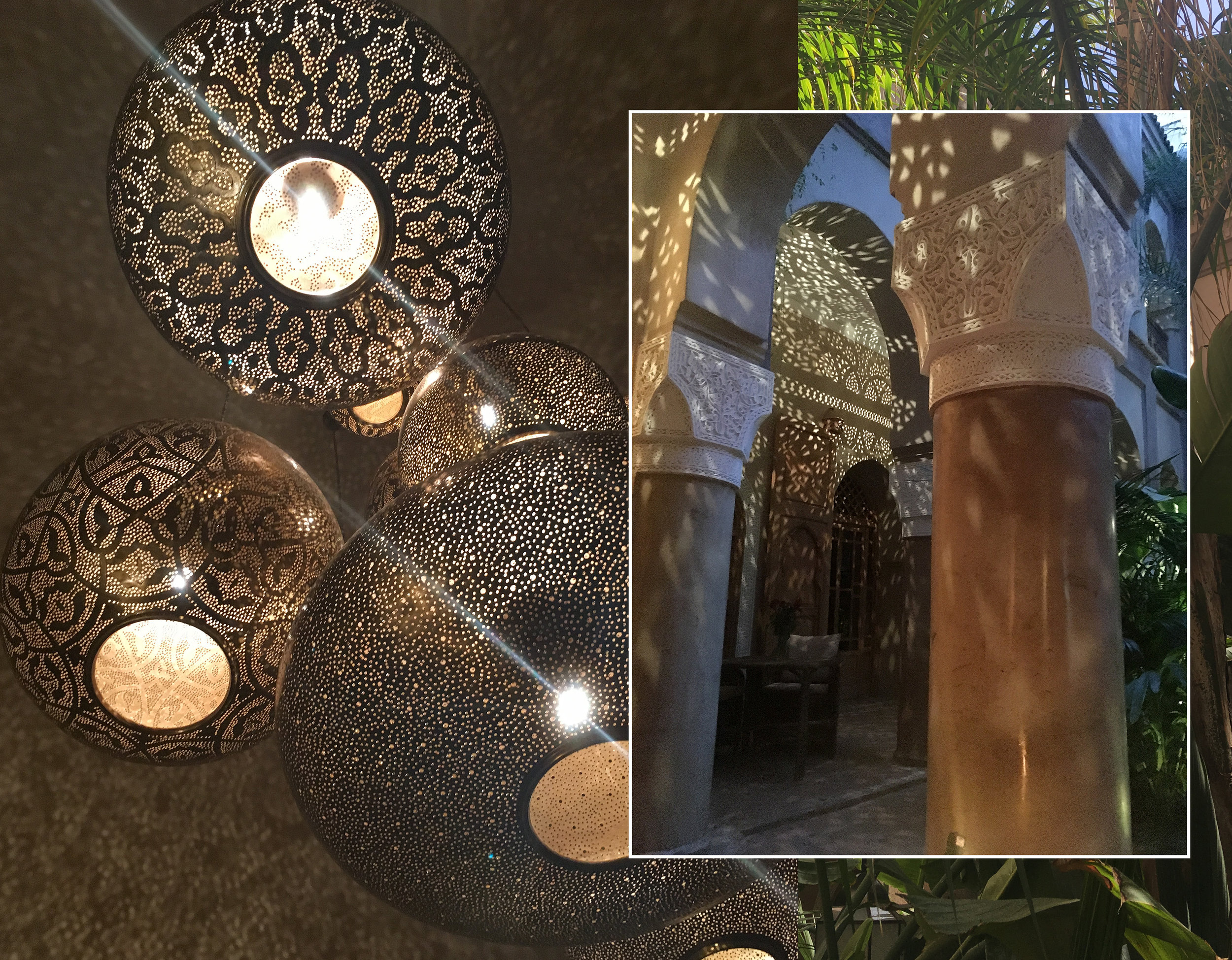 light fixtures and courtyard  La Villa Nomade