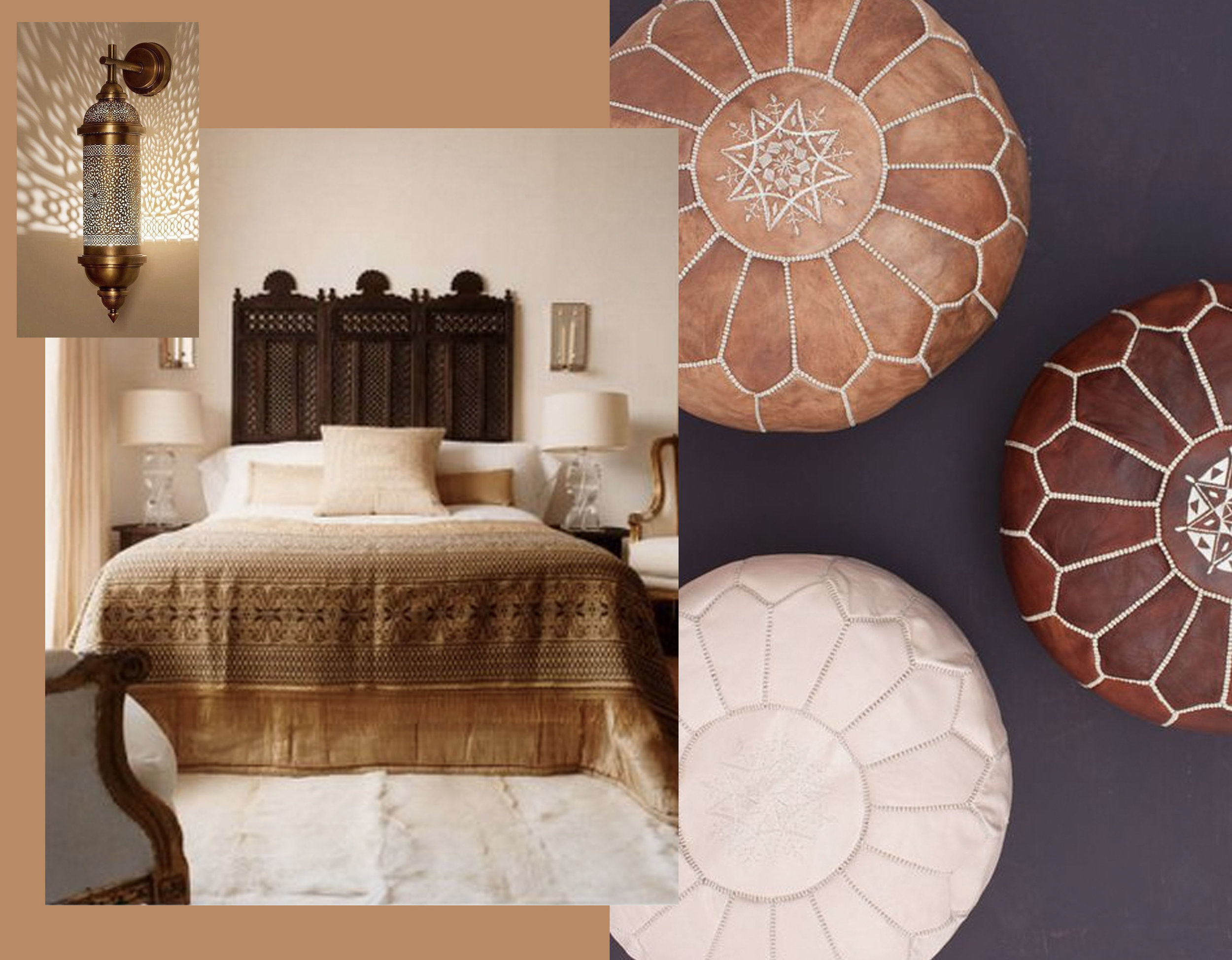 bedroom via  Decor Pad  - Moroccan leather pouf via  Bohemia