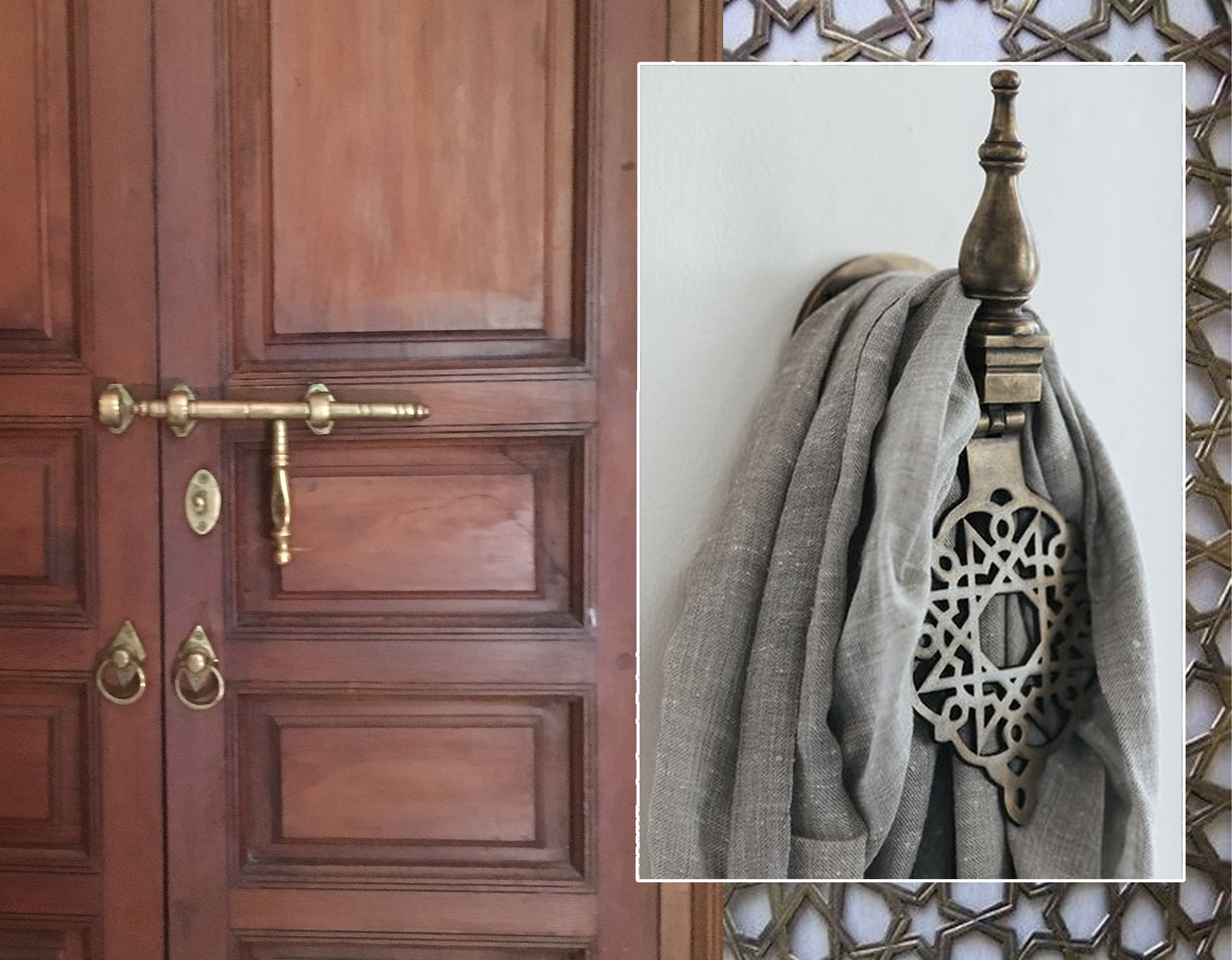 brass hardware  La Villa Nomade  - metal grill  Tazi Designs  - door knob as towel support similar at  Manyarahome