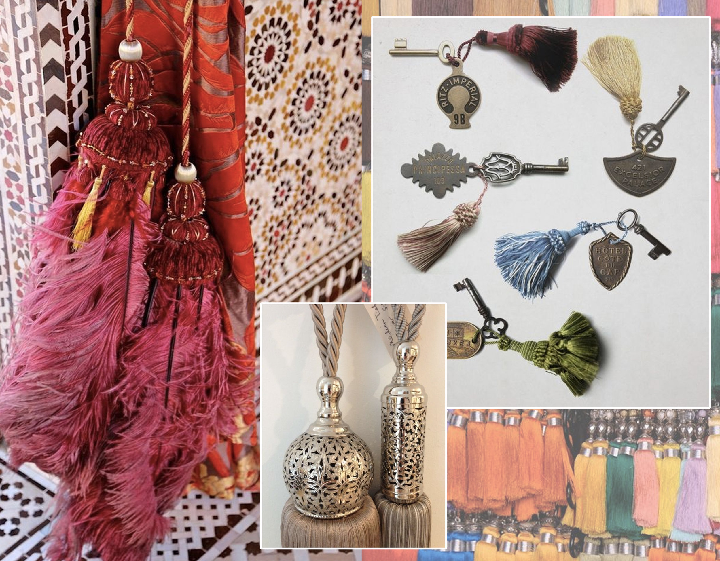 Moroccan tassel via  Slim Paley  - small key tassel via  Fritzroy
