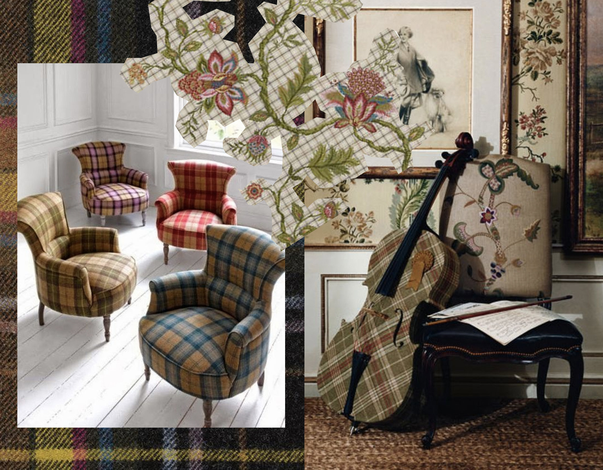plaid fabric Paul Smith  Maharam  - interior with cello  Ralph Lauren  - embroidered fabric Rambouillet  Pierre Frey