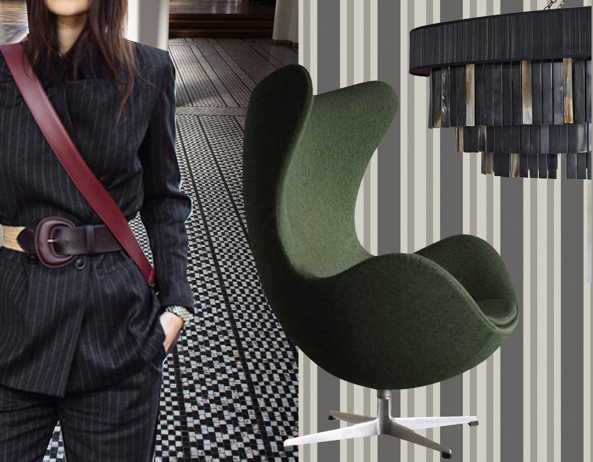 pin stripe suit via  Steal the Look  - floor Arne Jacobsen for  Aarhus city hall  - Egg chair Arne Jacobsen via  1stDibs  - Polo Stripe wallpaper  Cole & Son  - Eclipse chandelier  Ocre