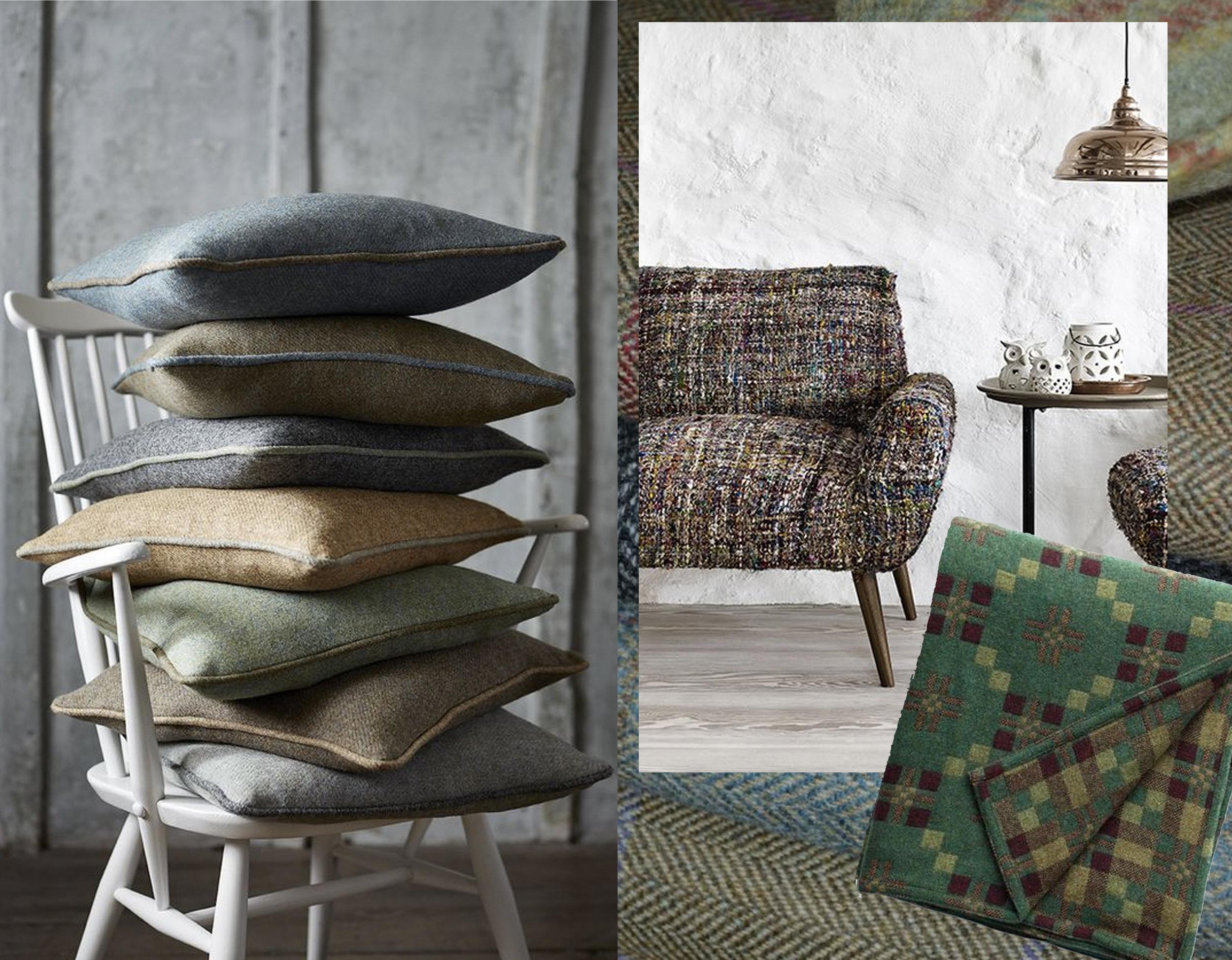 pile of pillows via  Interior Decor Trends  - sofa with tweed fabric via  Trendspananrna  - St. Davids Cross Throw  Another Country