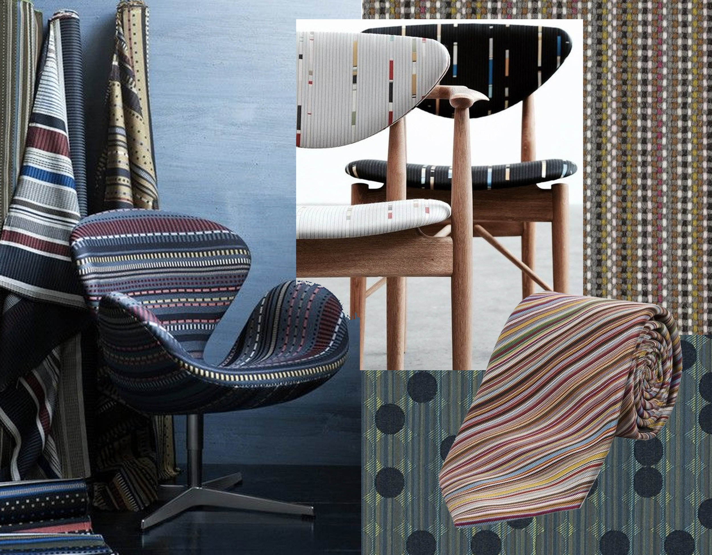 armchair and chair with fabrics Paul Smith for  Maharam  - tie  Paul Smith  - Coin fabric  Maharam