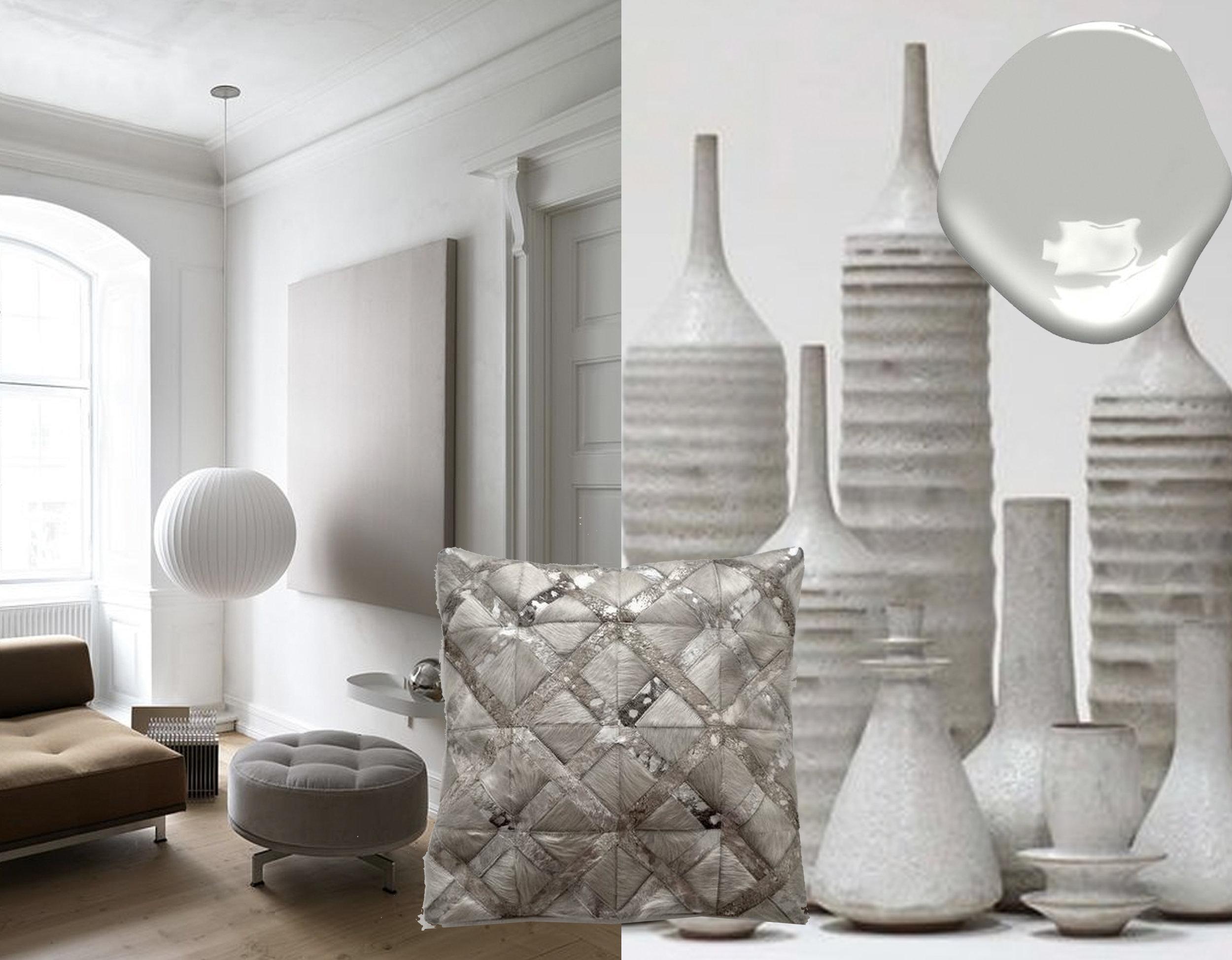 living room  - Stoneware ceramic bottles  Sara Paloma  - cowhide pillow  Life Style by Cara