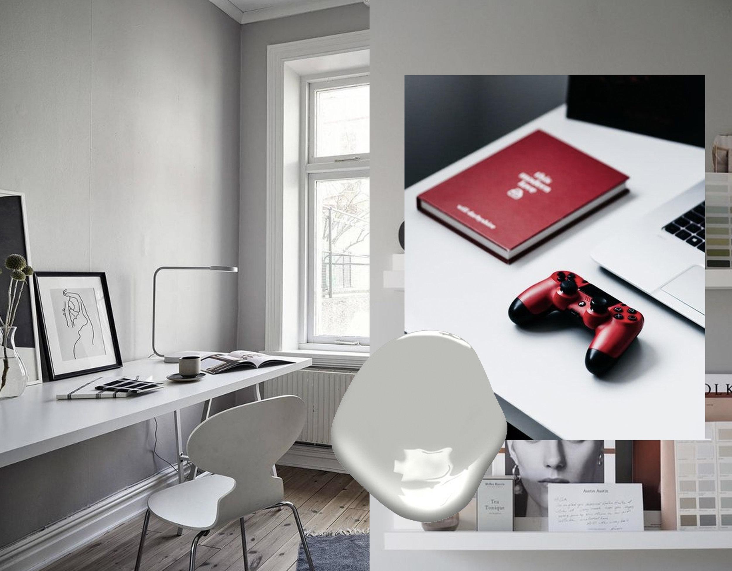 office via  Coco Lapin Design  - red accessories via  Unsplash