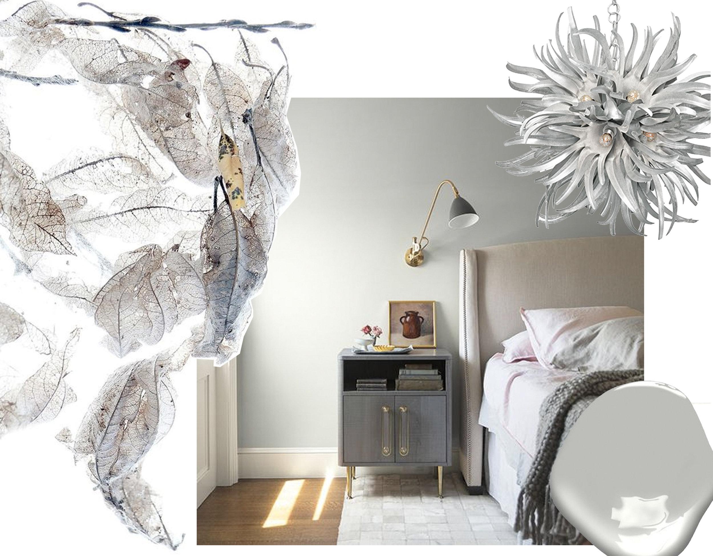 leaves via  Still  - bedroom  Benjamin Moore  - Urchin chandelier  Porta Romana