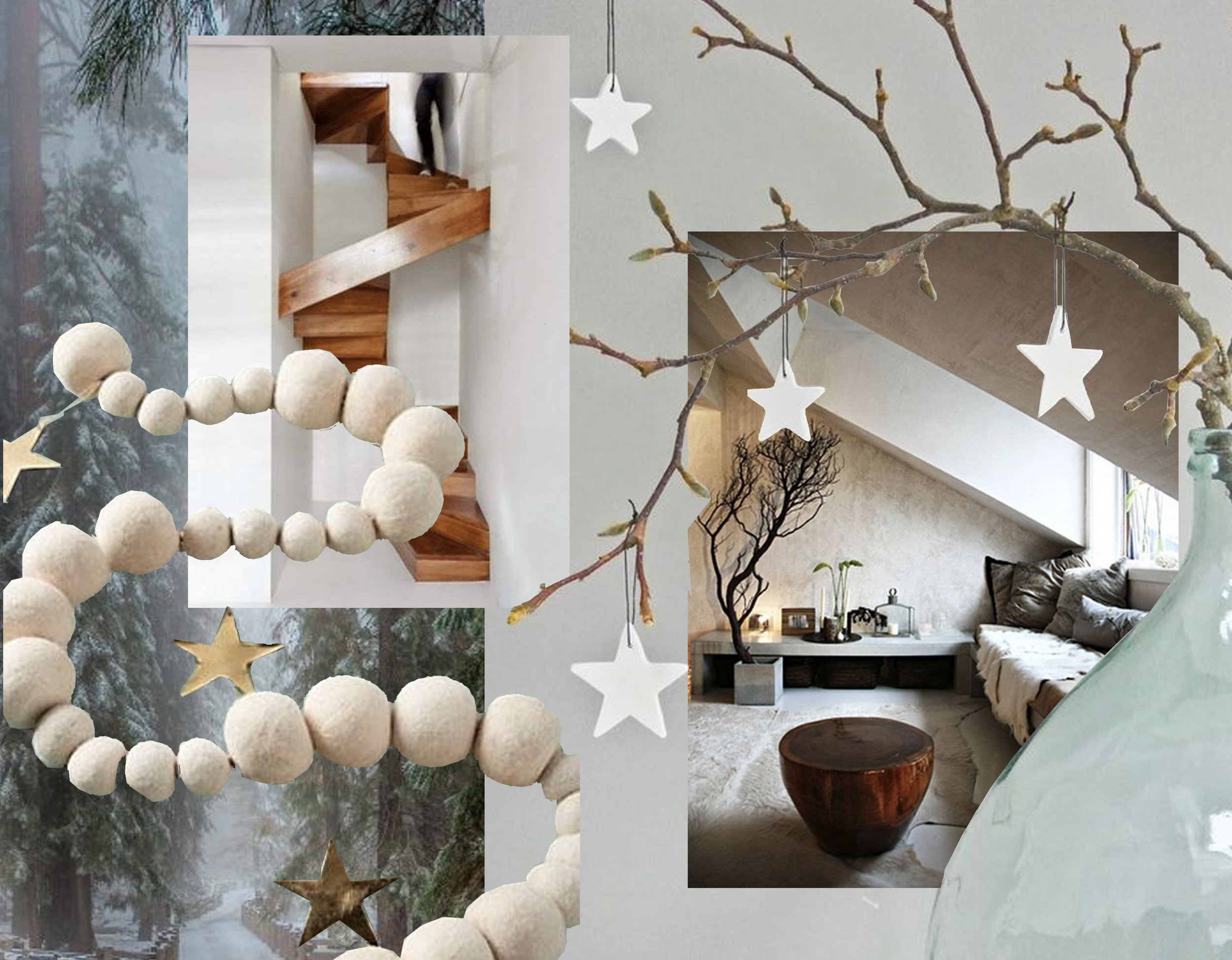white felted garland via  Freshome  - staircase via  Staircase Design  - attic via  House at Heart  - branch with stars via  Lekker Fris
