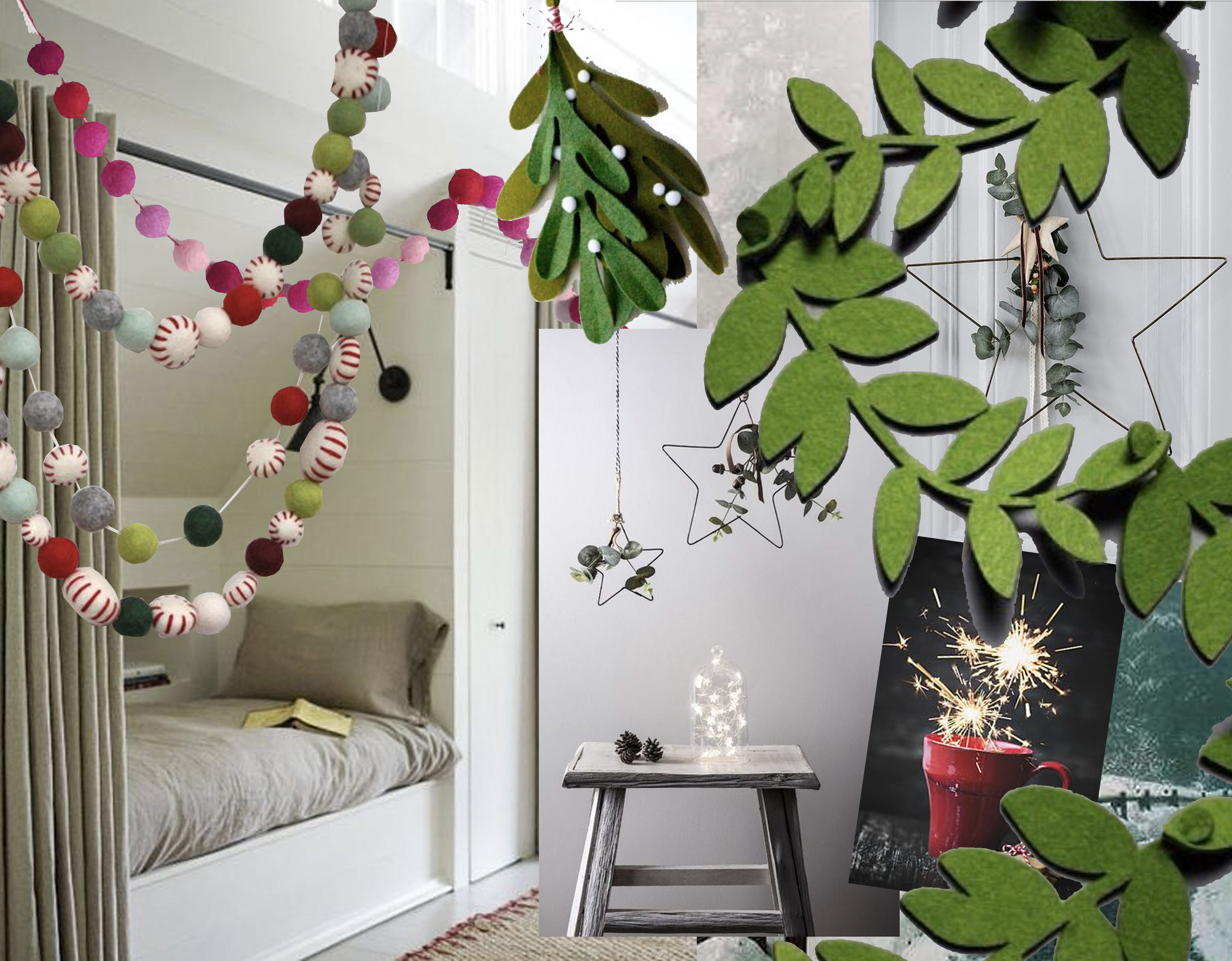 night area in the attic via  Jessica Paster  - colorful garland  Schnuffelinis  - red and pink garland  World Market  - felt mistletoe via  Instagram  - green leaf garland  Bazaartme  - Christmas star via  Indigo Plaza Decor  -