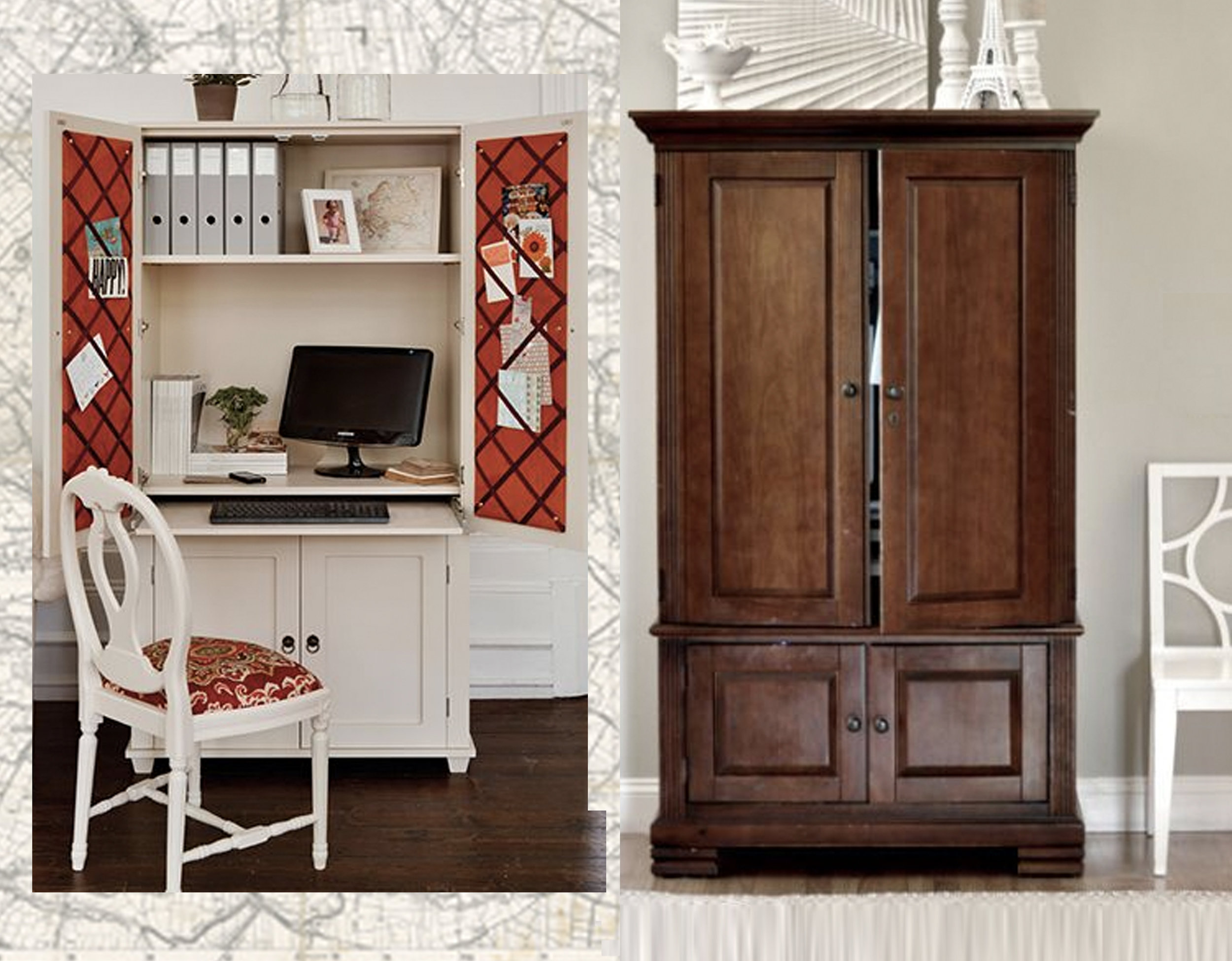 home office via  Home Dzine  - wooden cabinet  Home Beautiful