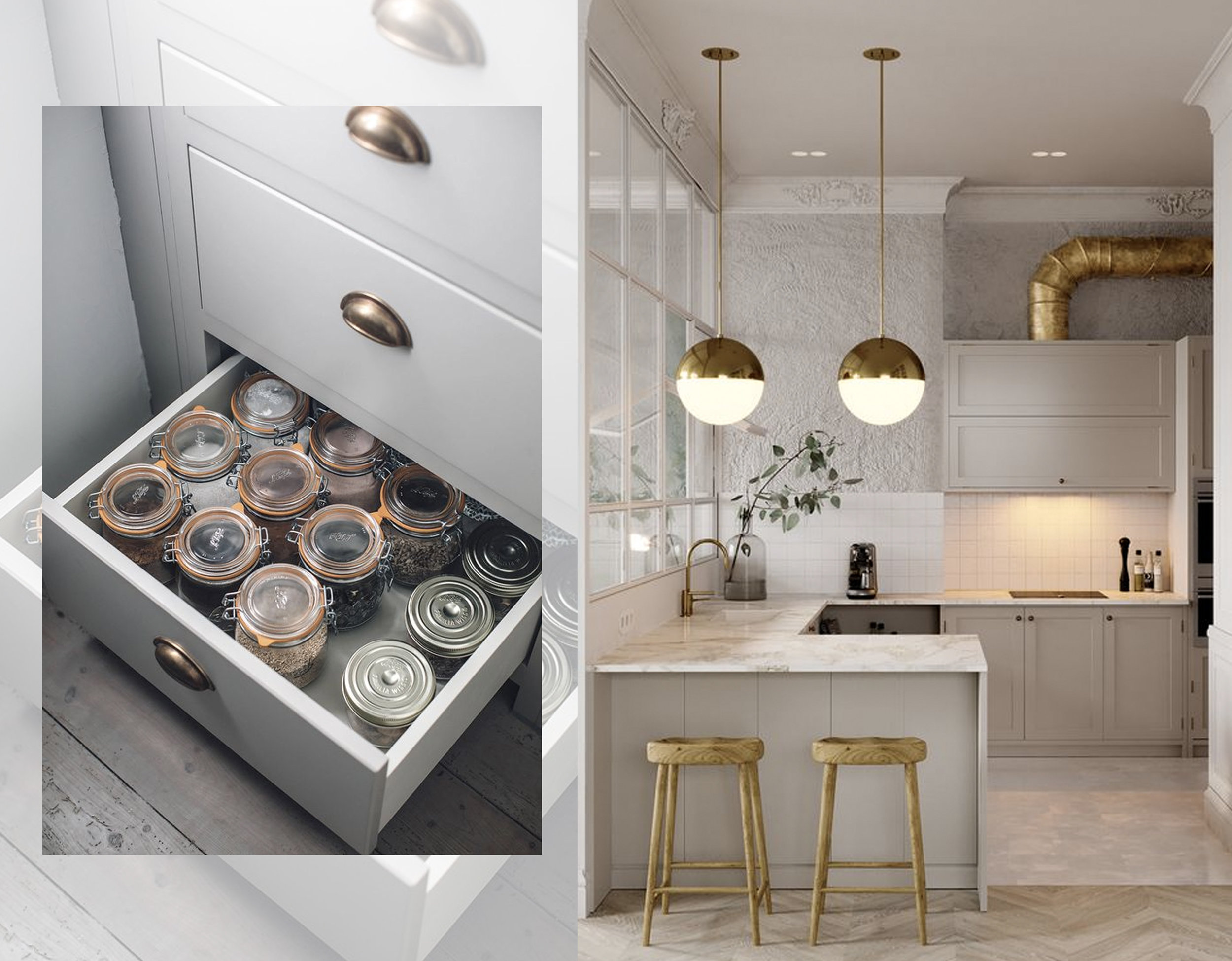 kitchen drawer organization via  Remodelista  - kitchen via  Behance