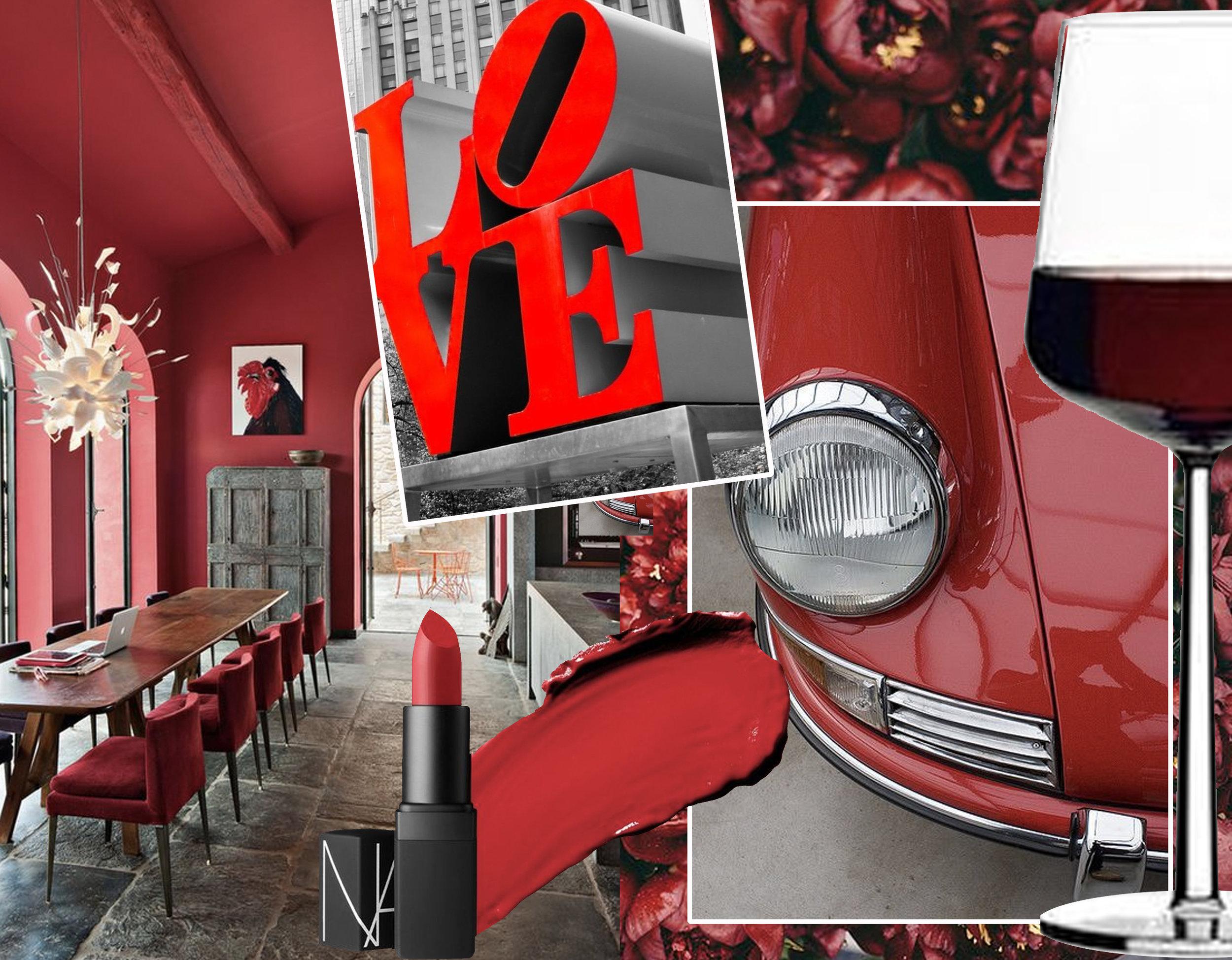 interior via  AD Magazine  - lipstick via  Harpers Bazaar  - Love via - car via  Jalopnik  - glass of red wine via J oss & Main  - flowers in the back via  Flickr