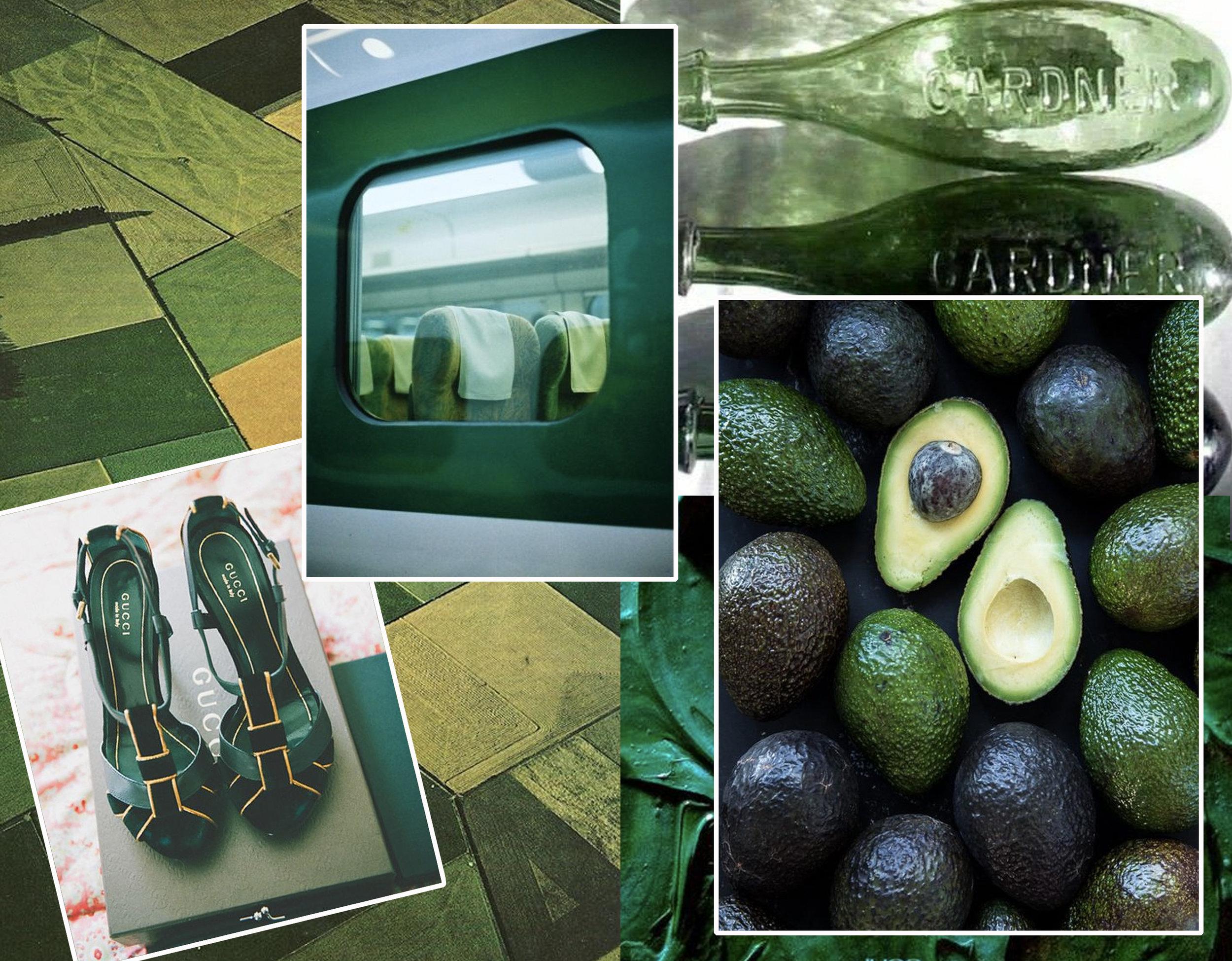 landscape via  Tumblr  - shoes via  Intimate Weddings  - train via  Exercise de Style  - bottles via  NY is my Boyfriend  - avocado via  Nutrition Stripped