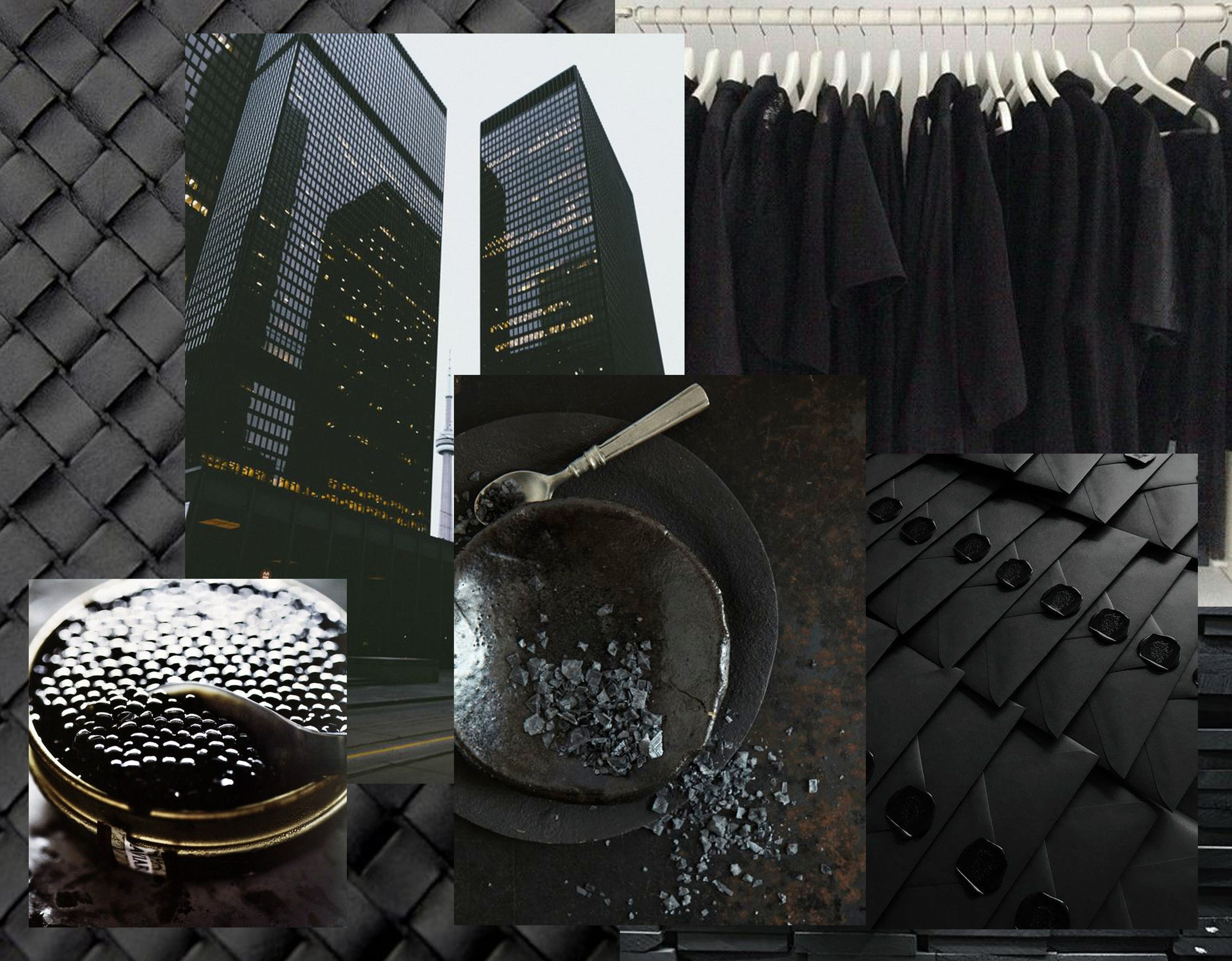 woven leather via  Pinterest  - caviar via  Pinterest  - city view via  Pinterest  - back garderobe  We Heart It  - plates  Sarah Hogan  - envelops via  Pinterest