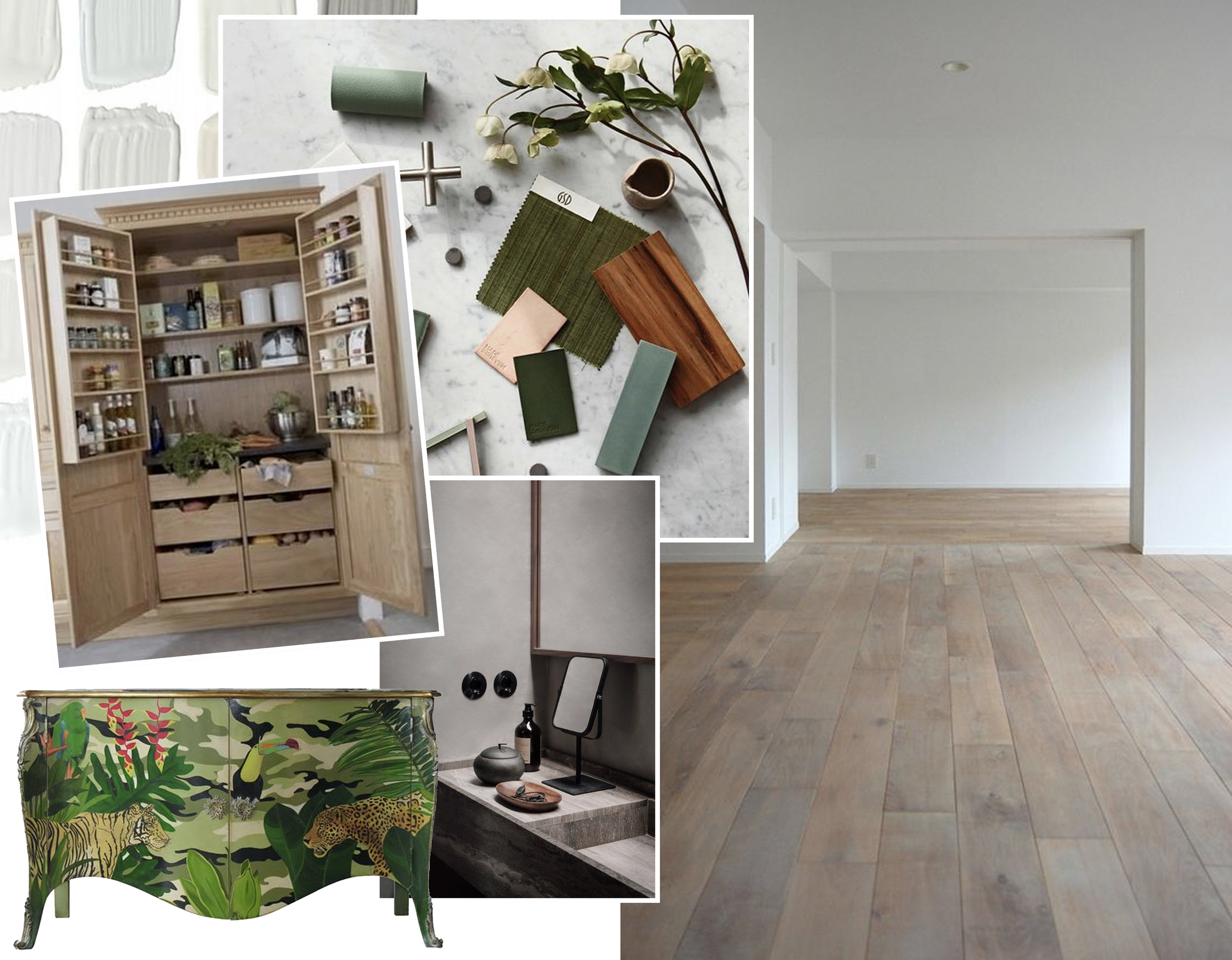 materials via  Instagram  - kitchen cabinet  Pinterest  - buffet  Moissonnier  - empty room via  Plastolux