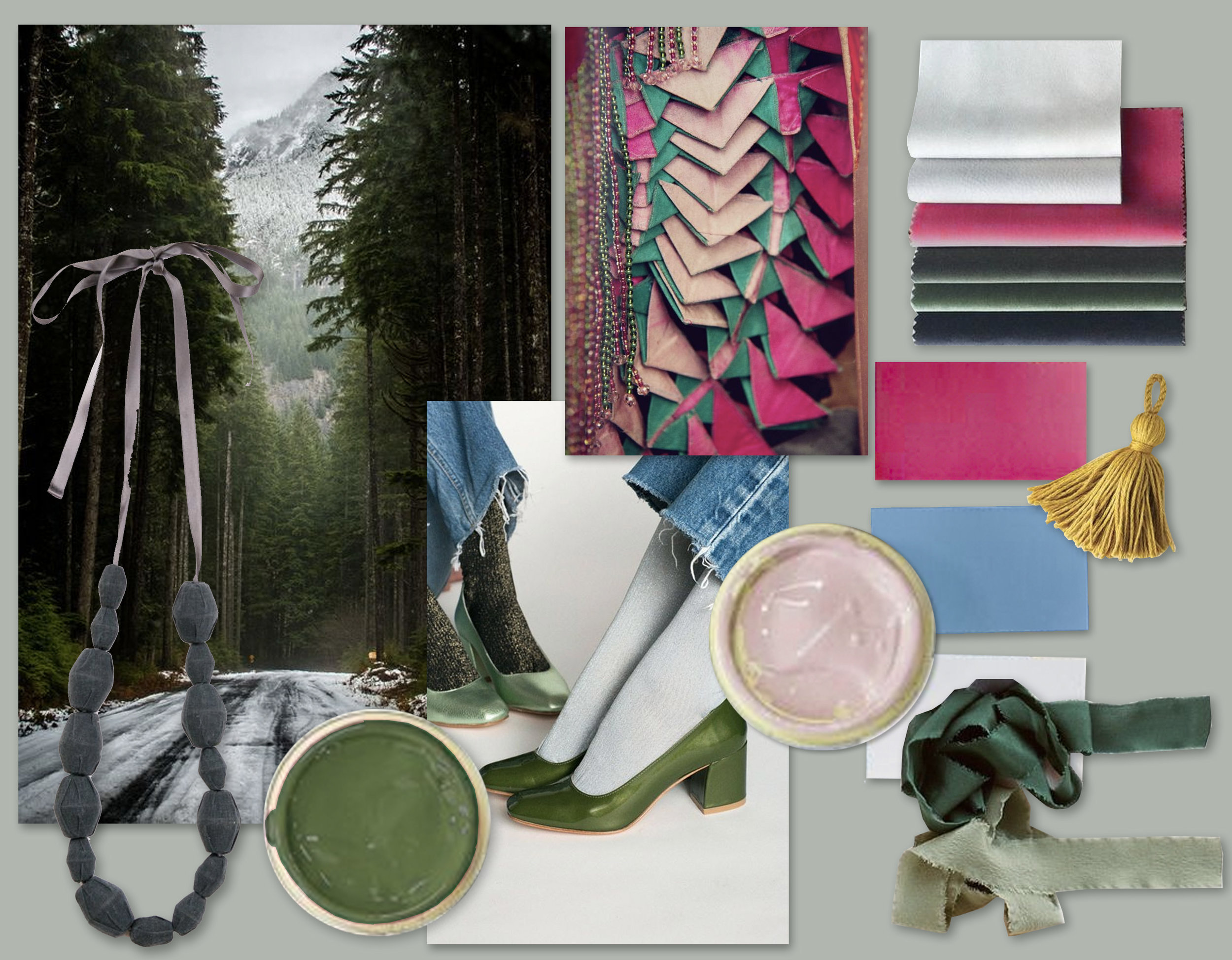 Mood board to decide color harmony - images collected on Pinterest