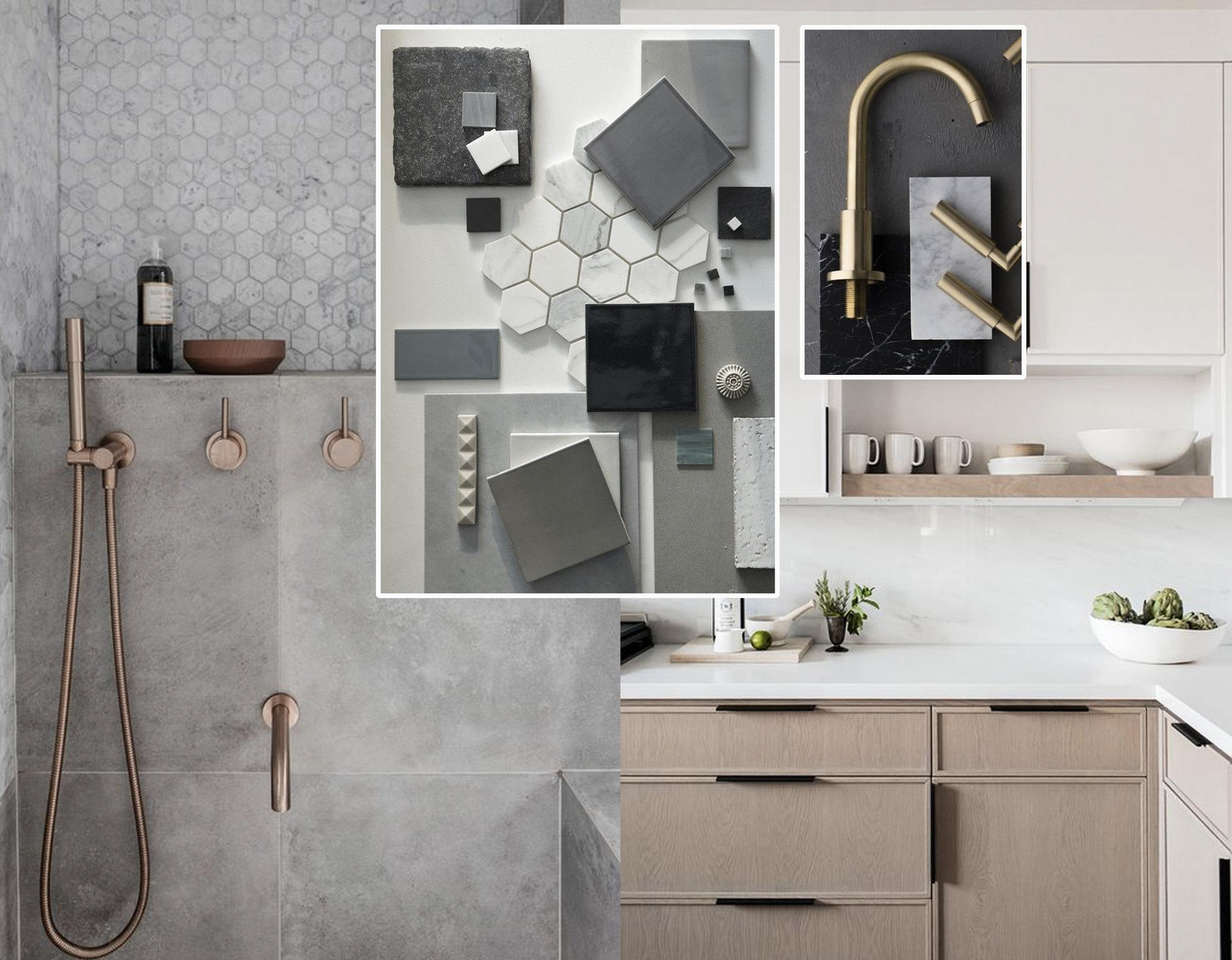 bathroom image via  Emily Henderson  - material mood board via  Waterworks  - faucets via  Boco Da Lobo  - kitchen image via  Studio McGee