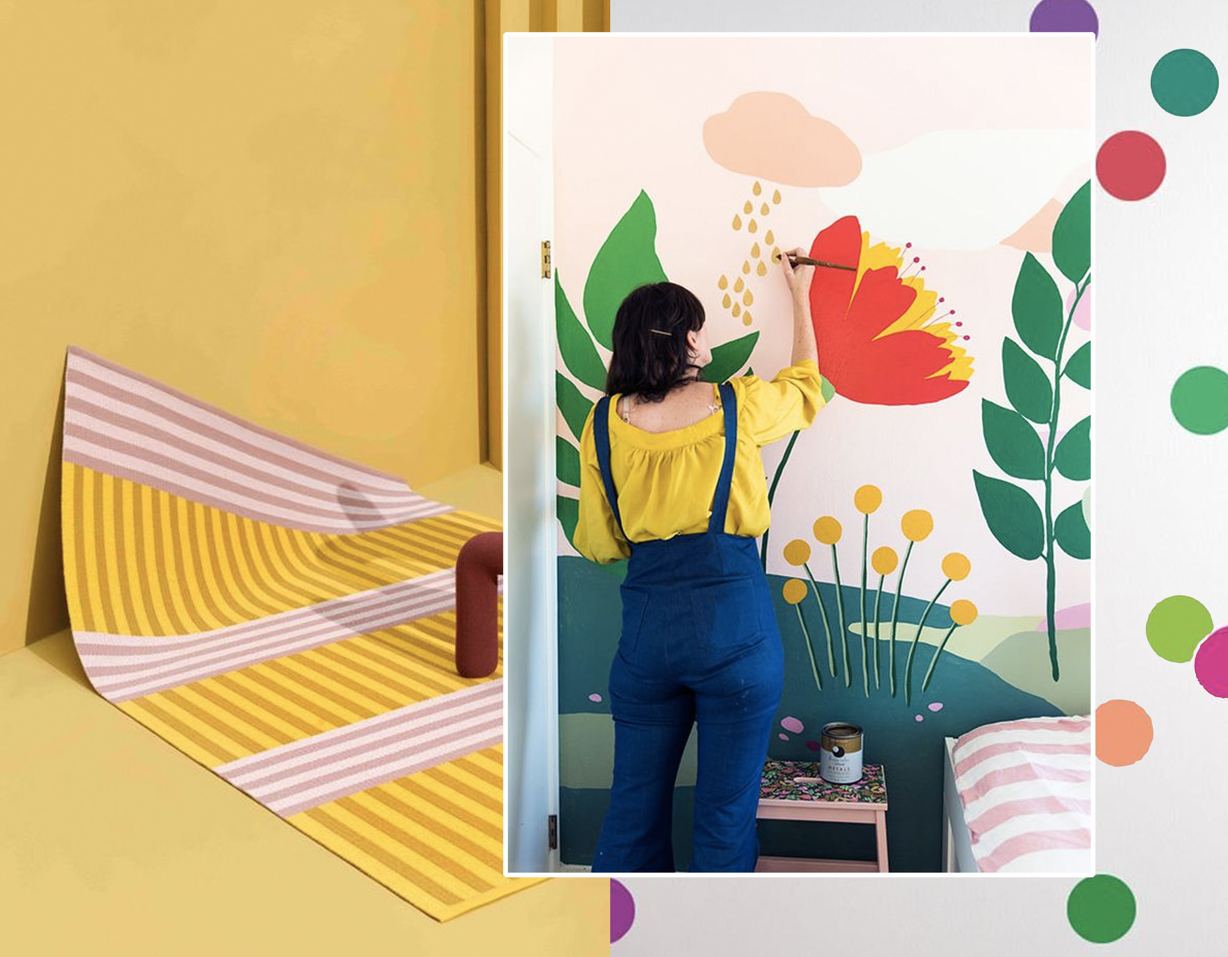 Striped rug of Kasthall via  Designboom  - painting your own mural via  The Budget Decorator  - Polka Dots  Walls Dressed Up