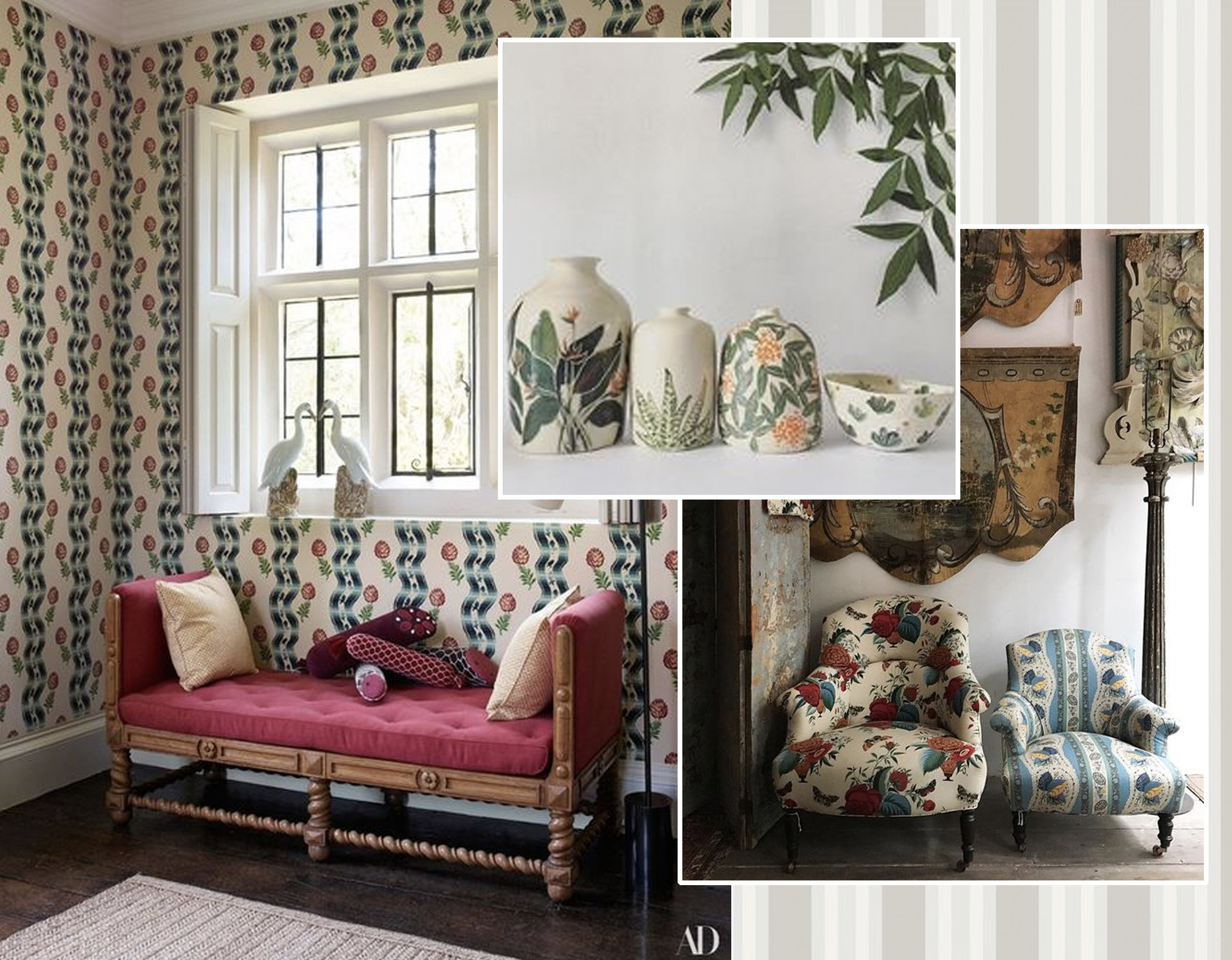 image entrance Claudia Schiffer's Tudor Mansion via  AD  - armchairs with floral upholstery  John Derian Company  - Polo Stripe wallpaper  Cole & Son