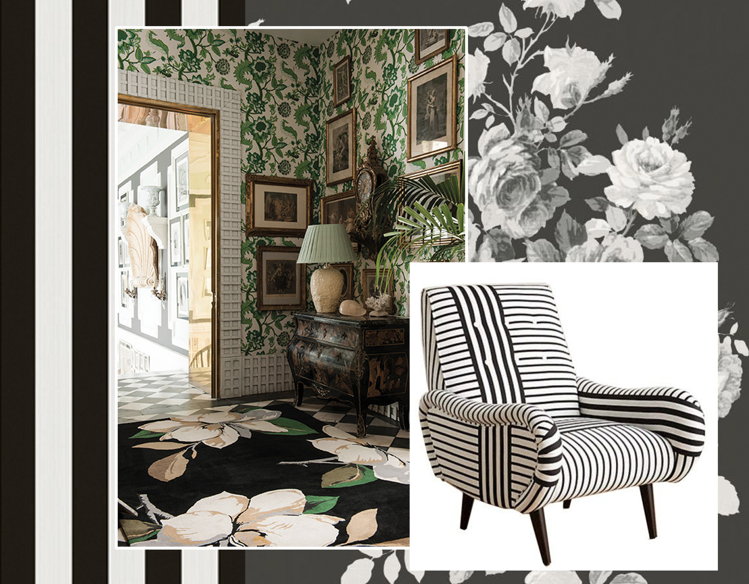 wallpaper Jaspe Stripe  Cole & Son  - Tea Rose wallpaper  York Wallcoverings  - Magnolia rug  The Rug Company  - armchair via  Sarah Baynes