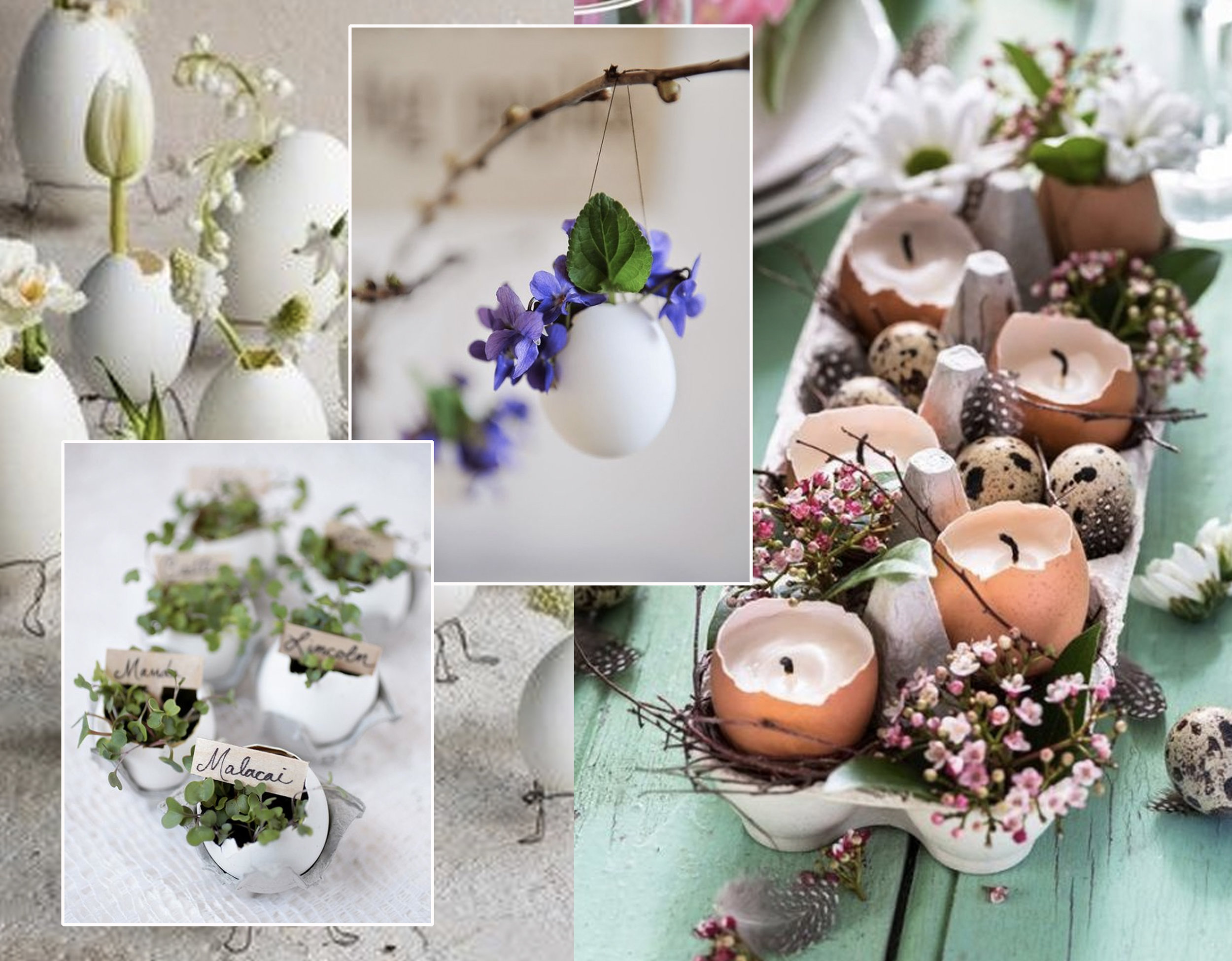 egg shell as small vase via  La plante qui pousse  - egg shell place holder via  The Merry Thought  - egg shel with spring flower via  The Paper Tree  - egg candles via  Jolie
