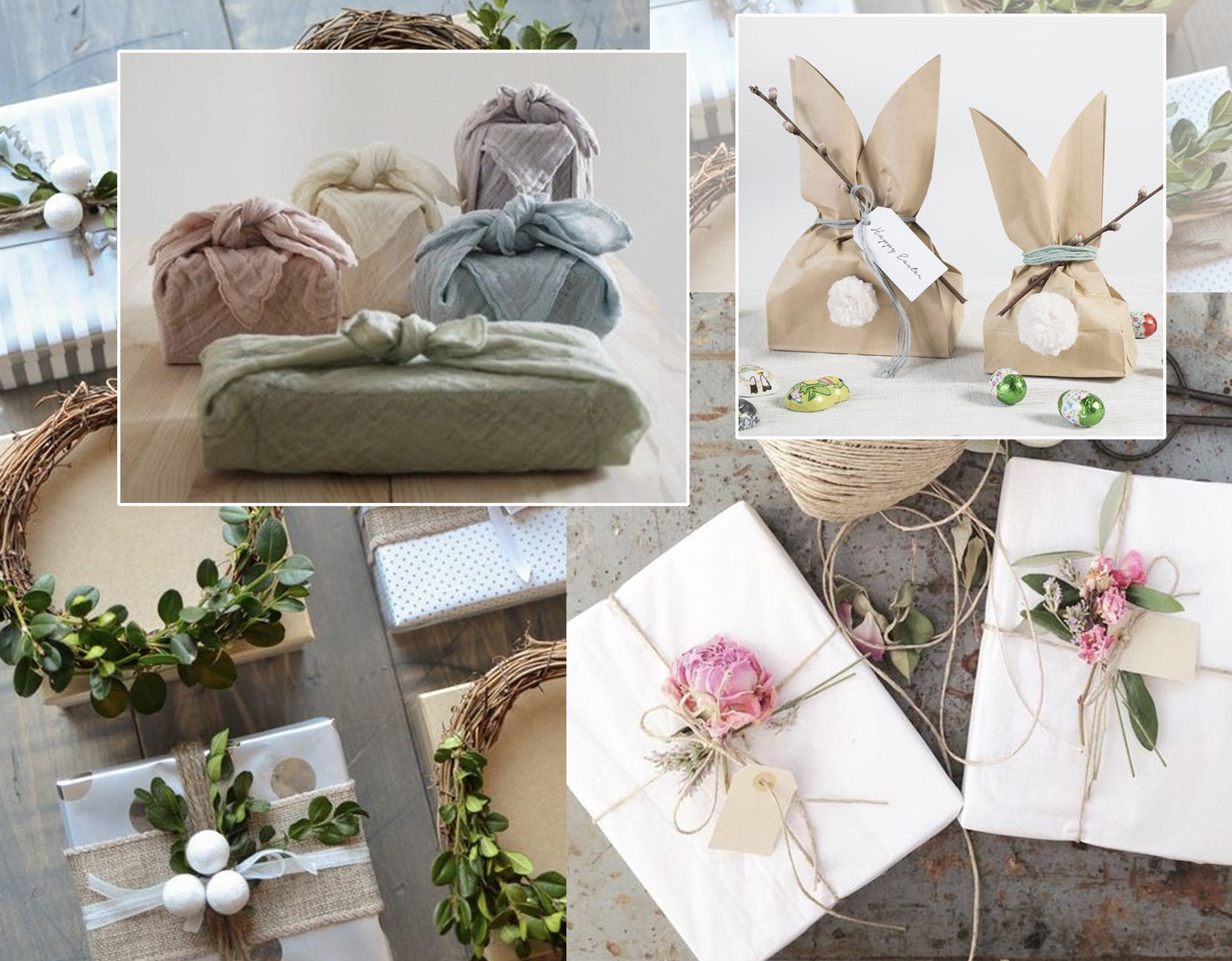 wrapping with fabric via  Hippie in disguise  - green decoration for wrapping via  A Burst of Beautiful  - using flowers for gift wrapping  Pinterest - bunny goody bag via  Sostrene Grene