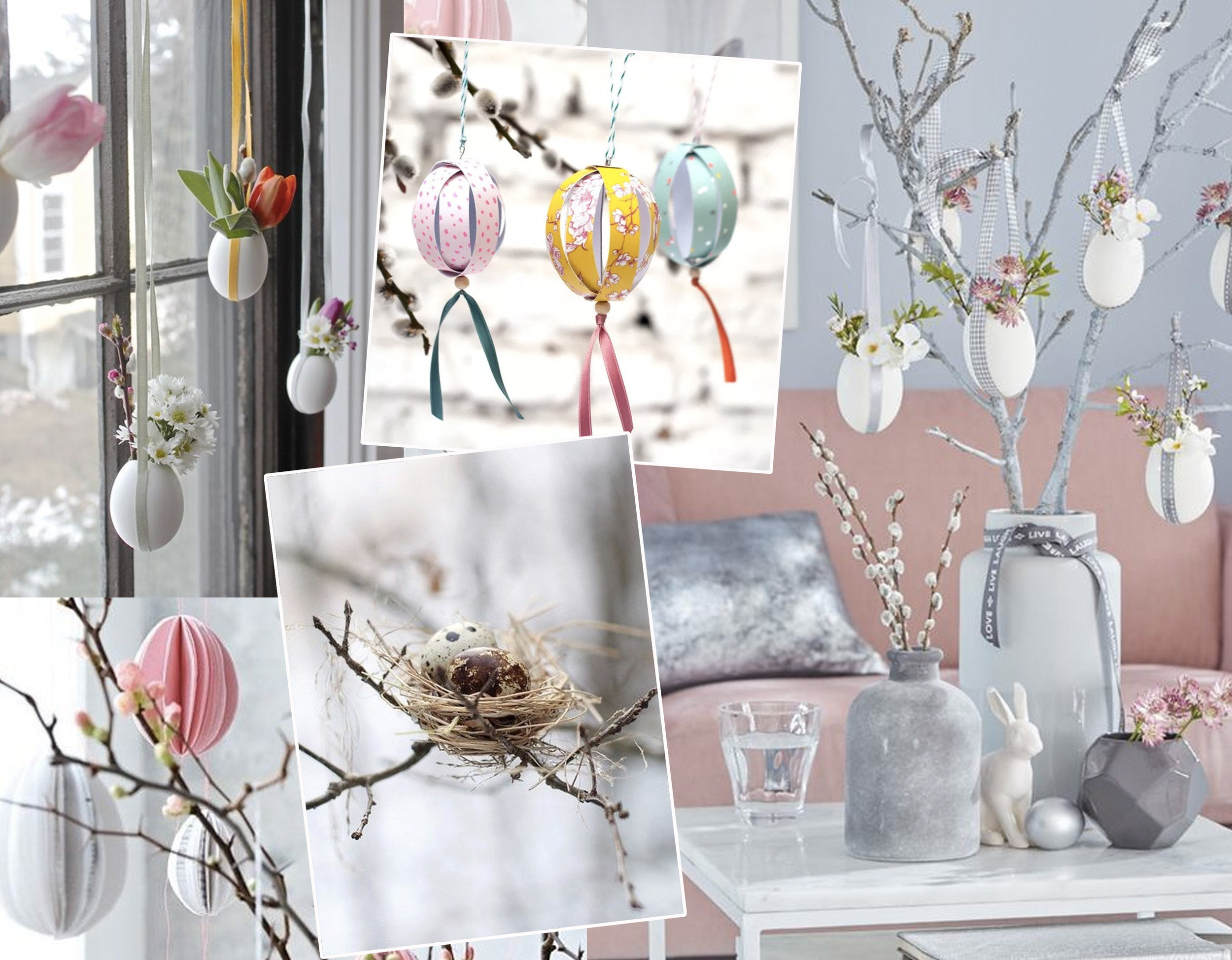 paper Easter eggs via  Glitter and Caffeine  - hanging Easter flowers via  Gardenista  - nest with eggs via  Indulgy  - paper eggs via  La Casa de Freja  Easter decorated interior via  Worthminer