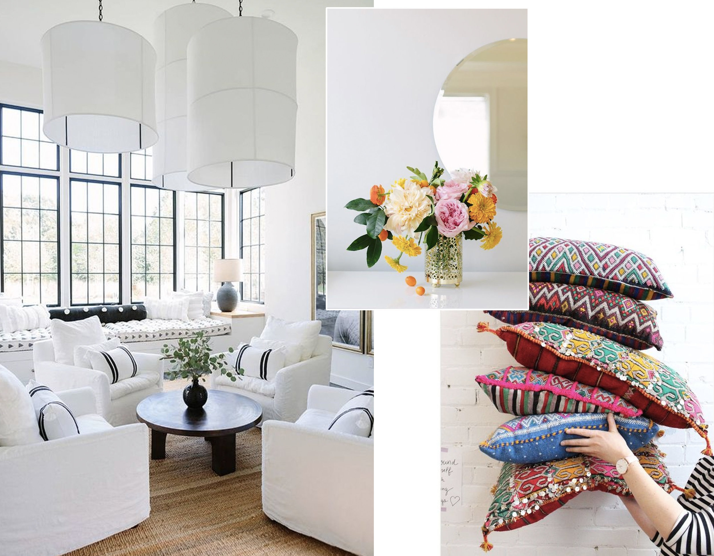 living room via  My Domaine  - flowers via  Girlfriend is Better  - pillows  Maroc 123