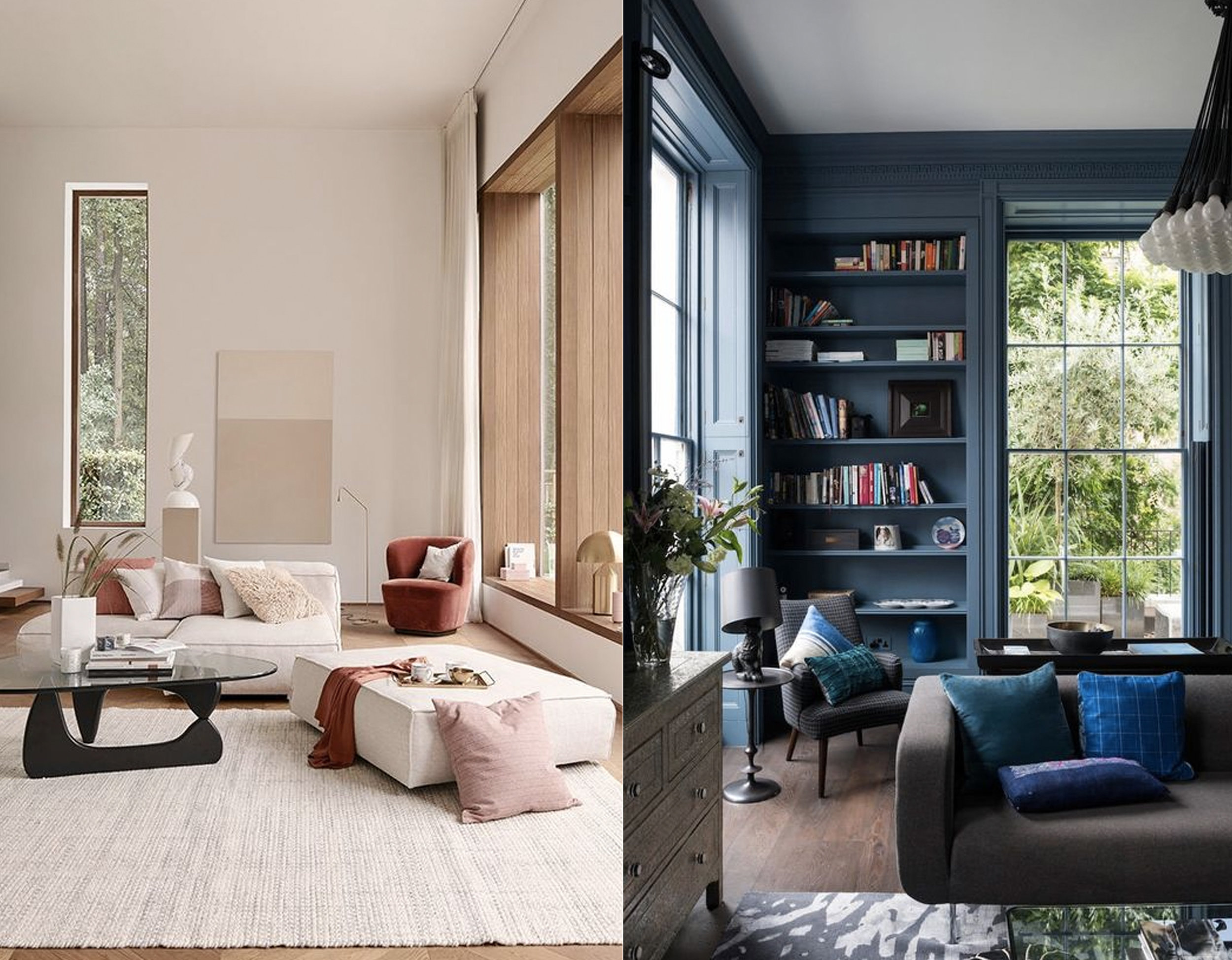Living room on the left via  Deco Feast  - on the right via  Apartment Therapy