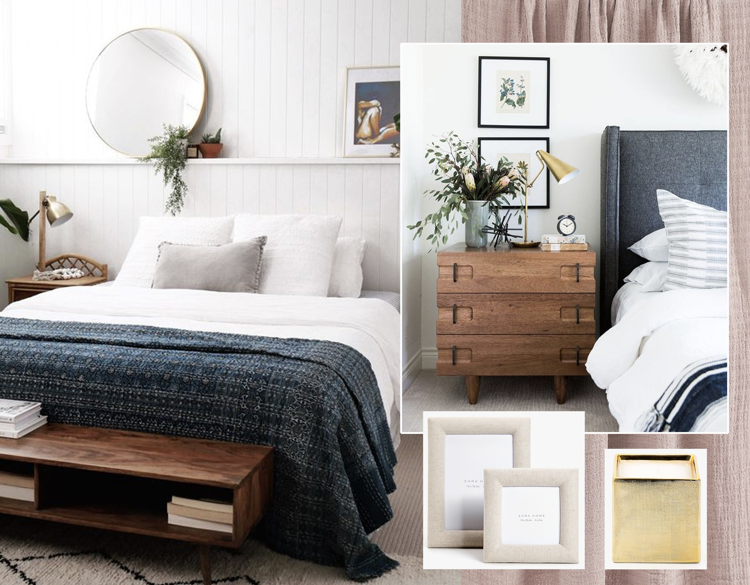 bedroom via  Style Curator  - nightstand via  McGee and Co  - picture frames and candle  Zara Home