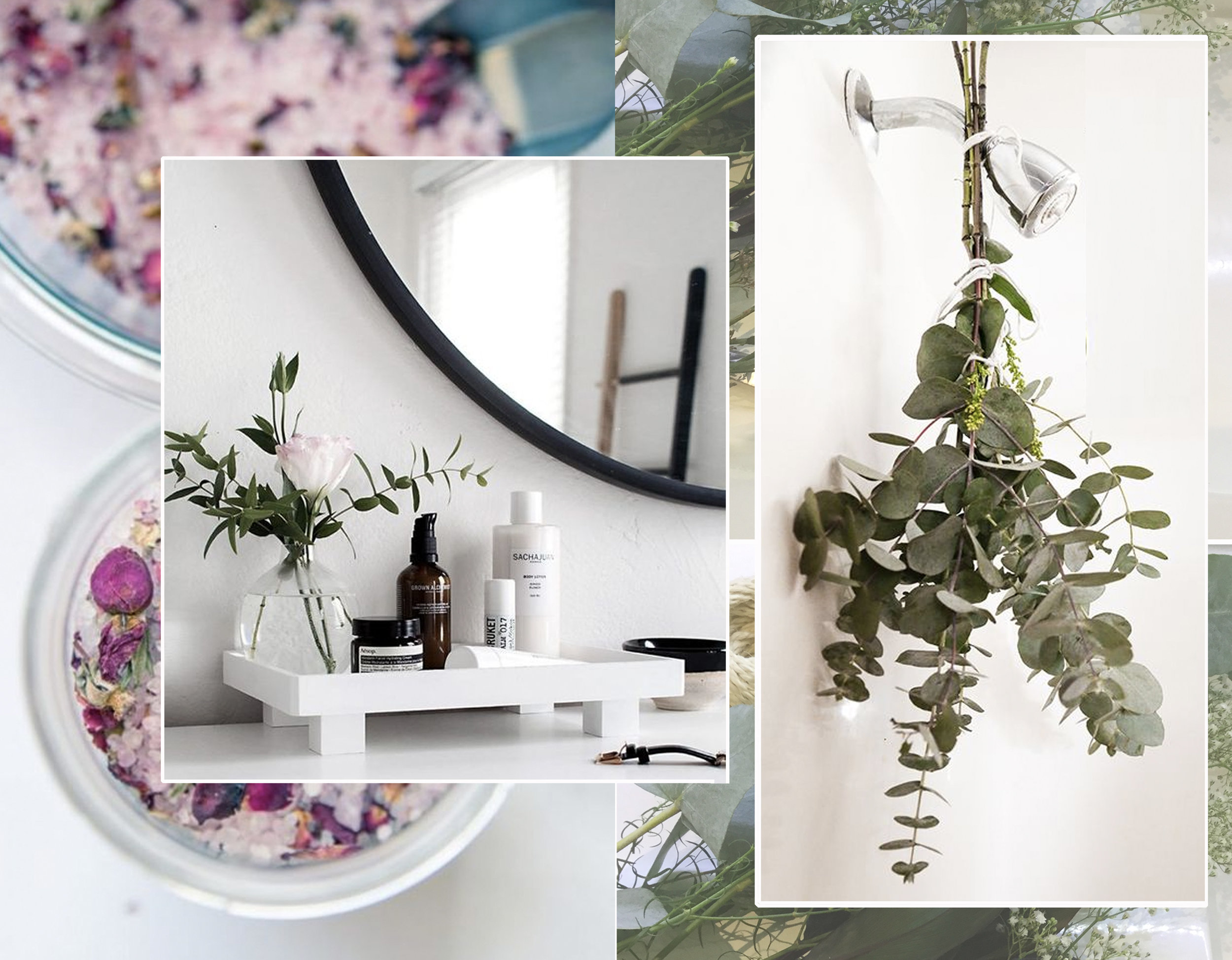 bath salt vis  Sisoo  - vanity tray via  Homeyohmy  - eucalyptus in shower via Astuces de  Grand-mere