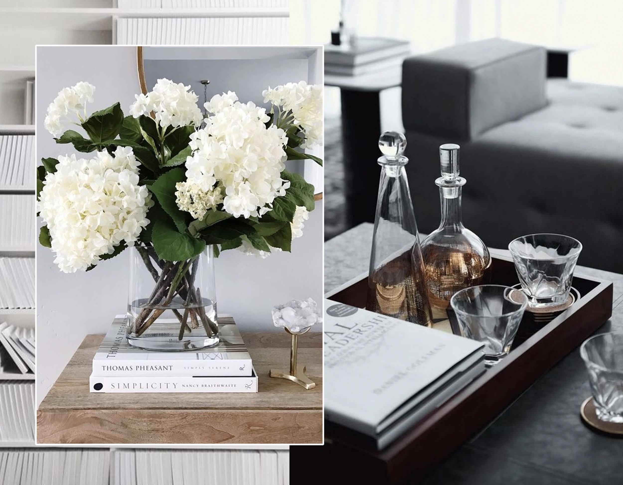 decorating with flowers via  Maison de Cinq  - decorating with carafes via  Hoate