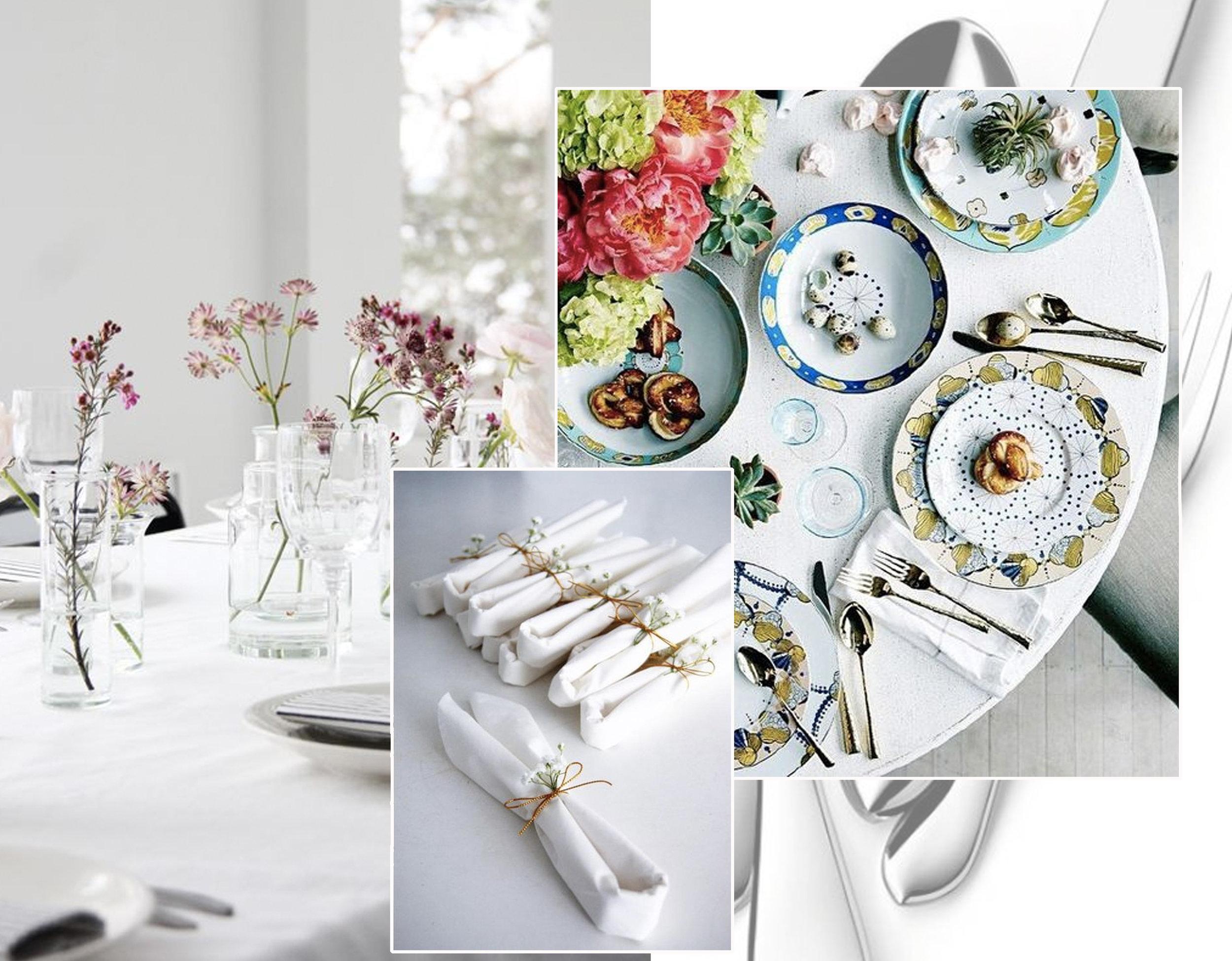 decorating table with some simple flowers via  Elisabeth Heier  - napkins via  Instagram