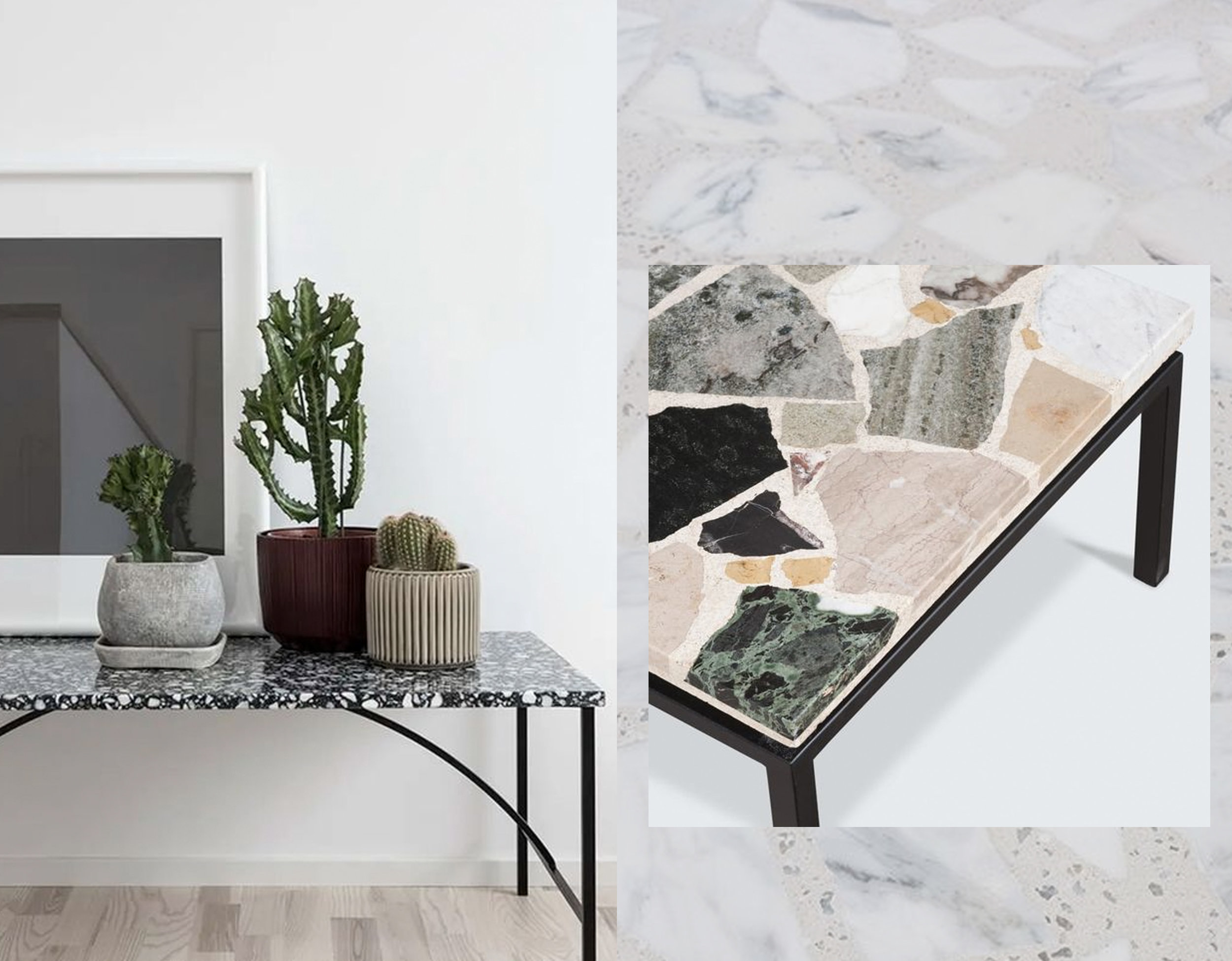 side table via  The Design Chaser  - coffee table via  Apartment Therapy  - terrazzo via  Instagram