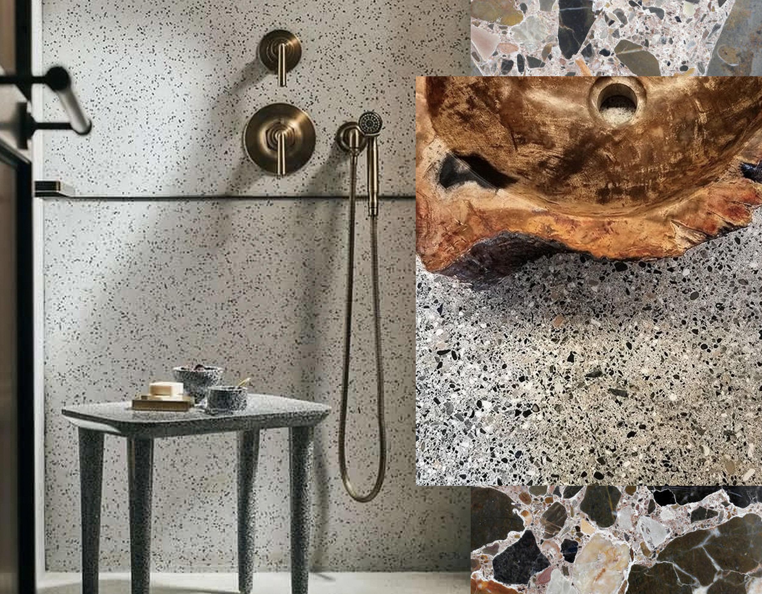bathroom via  Terrazzo_CV  - terrazzo and wood fossil via  Instagram