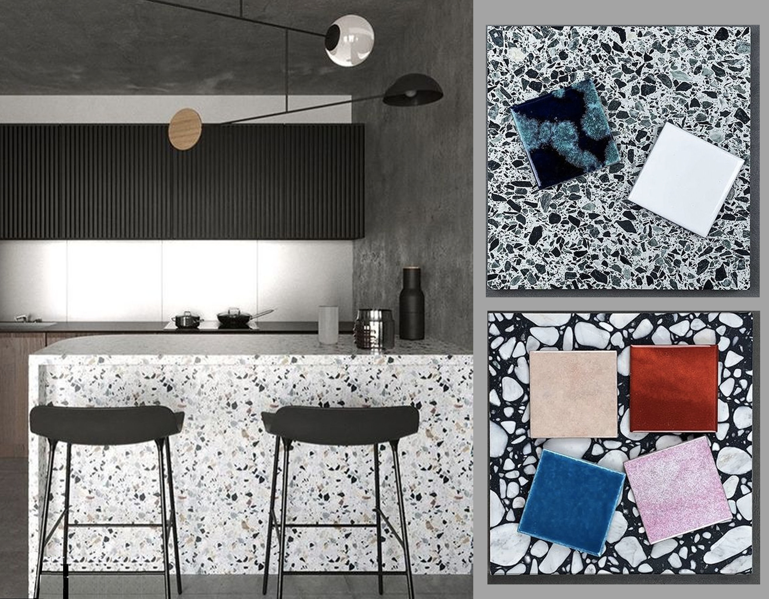 kitchen via  Terrazzo Tiles  - terrazzo tiles and ceramic tiles via  Terrazzo Tiles