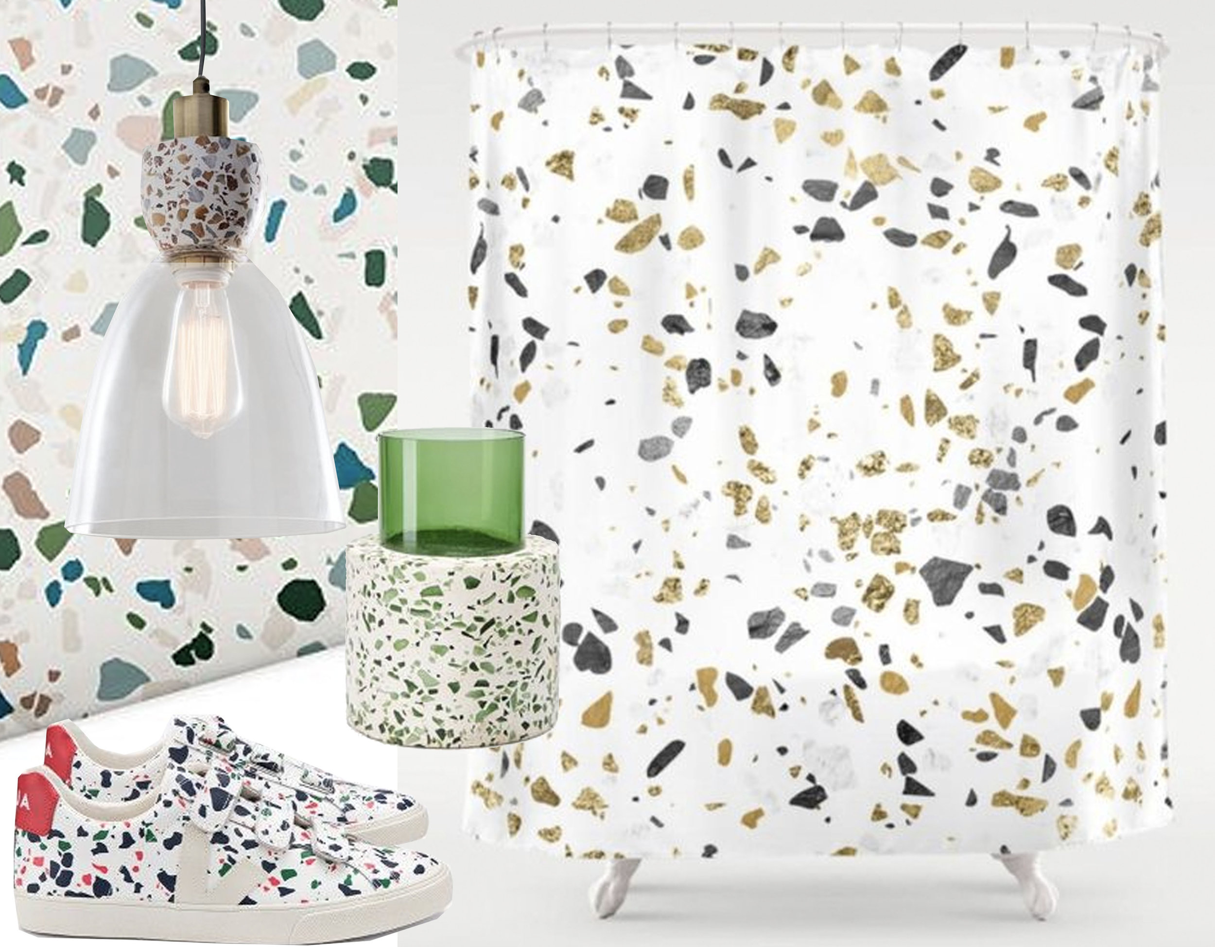 wallpaper via  Macy's  - terrazzo pendant lamp via  Apartment Therapy  - glass and terrazzo from Super Local via  Dezeen  -  Veja  trainers - shower curtain  Society 6