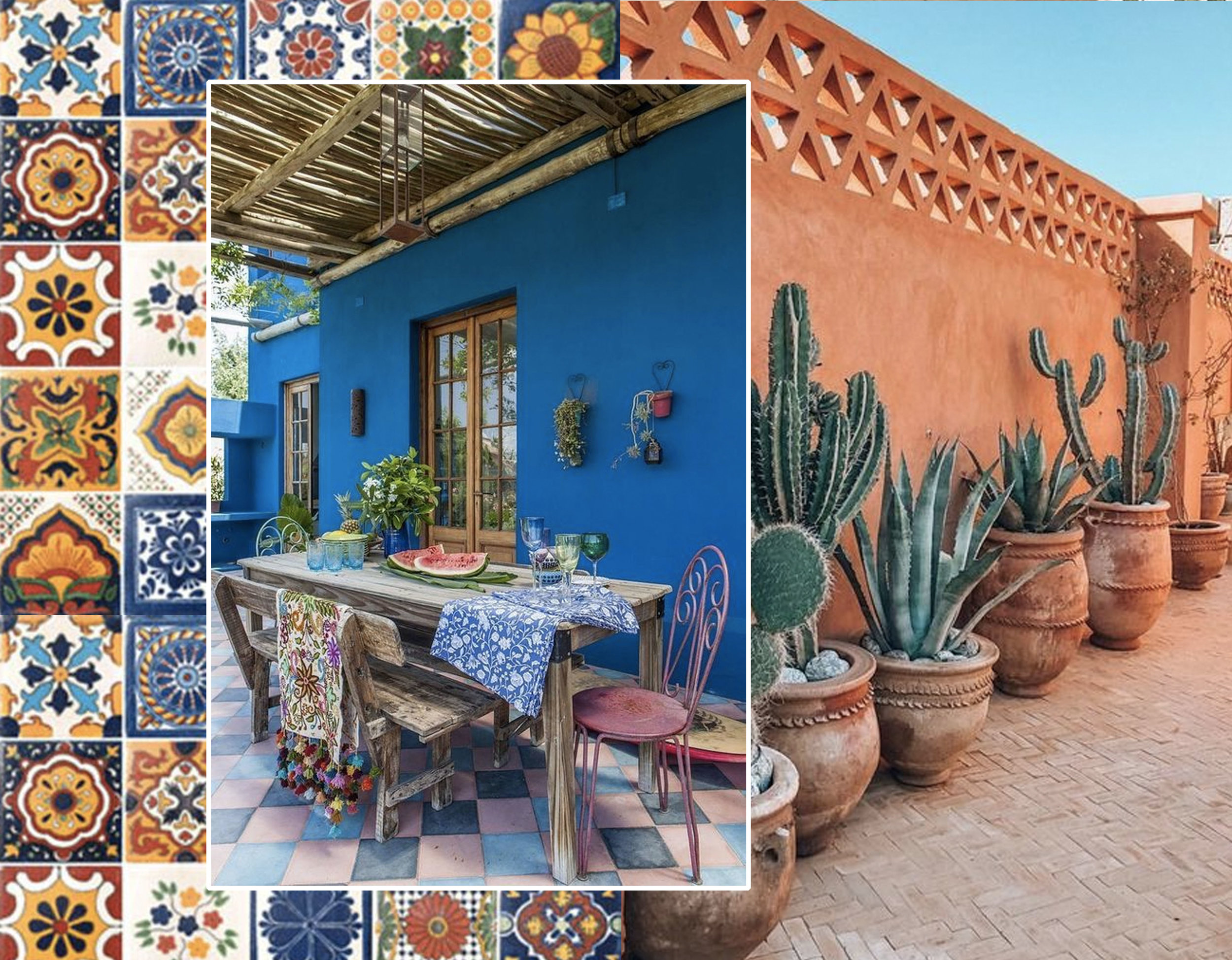 Mexican tiles via  Ebay  - dining corner via  Simpli Chique  - cactus via  Instagram