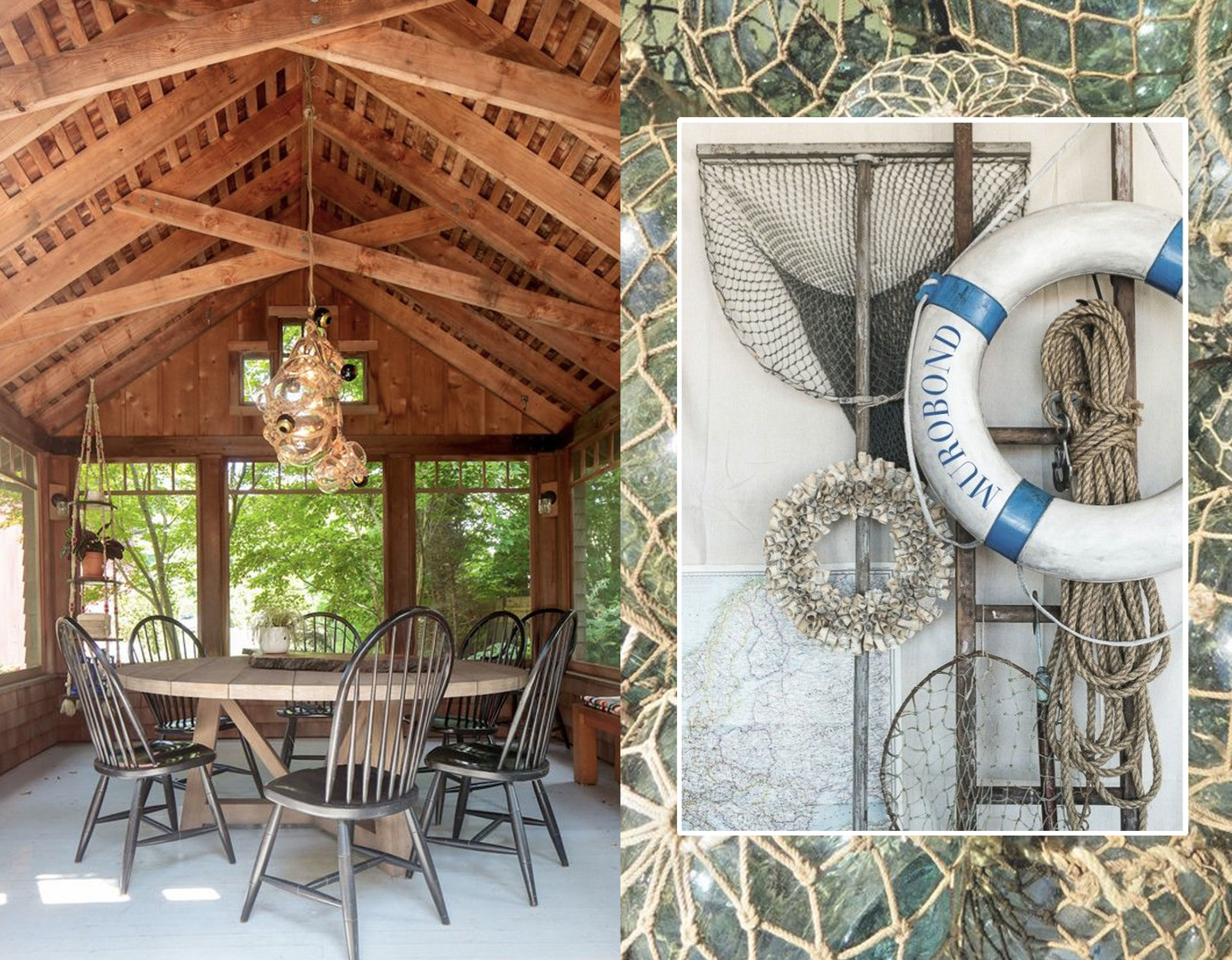 patio via  Remodelista  - vintage fisherman's equipment via  Mr. Jason Grant  - glass fishing balls via  Ebay