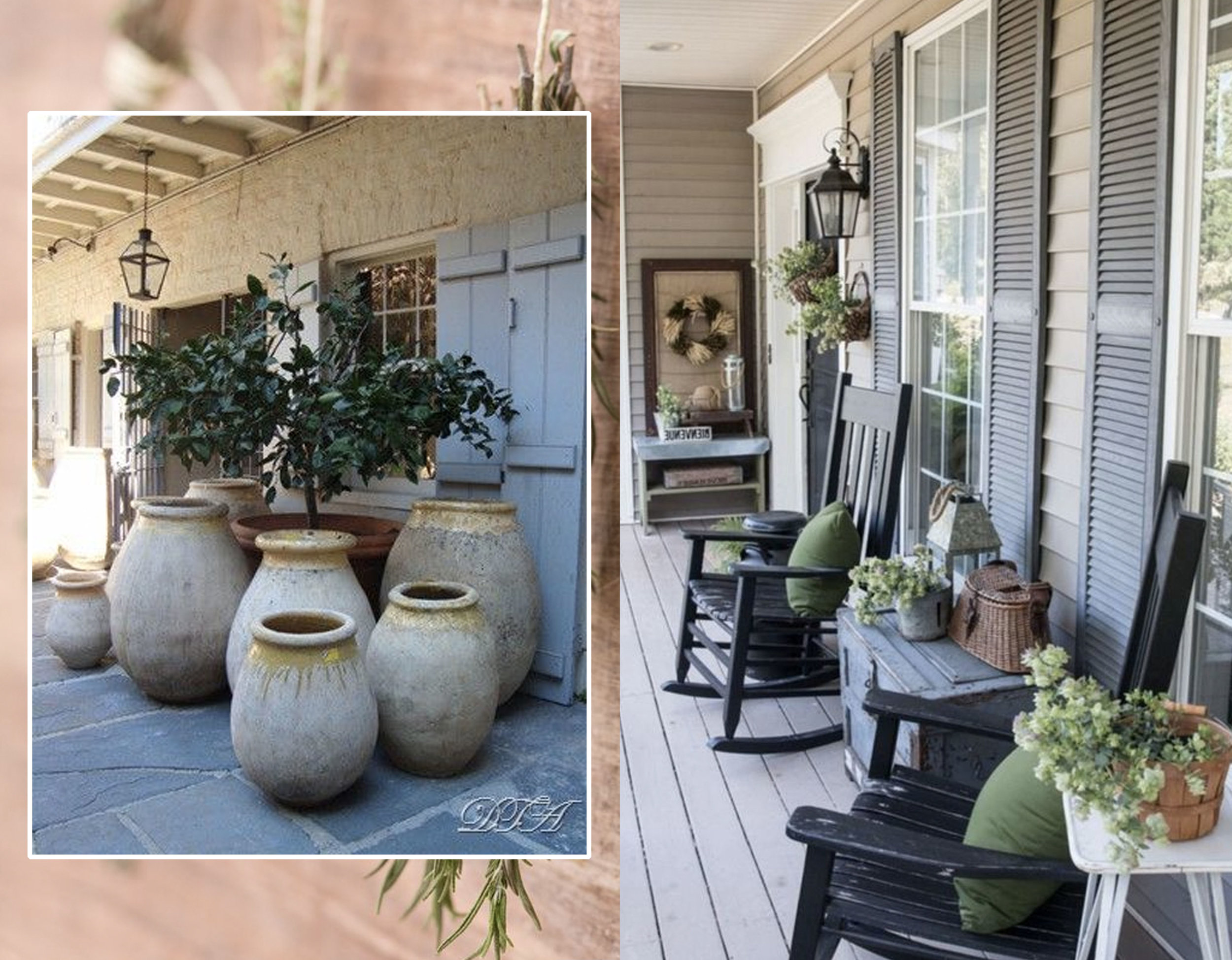 dried herbs via  Organic Authority  - planters via  Datura  - country style patio via  Instadecoration