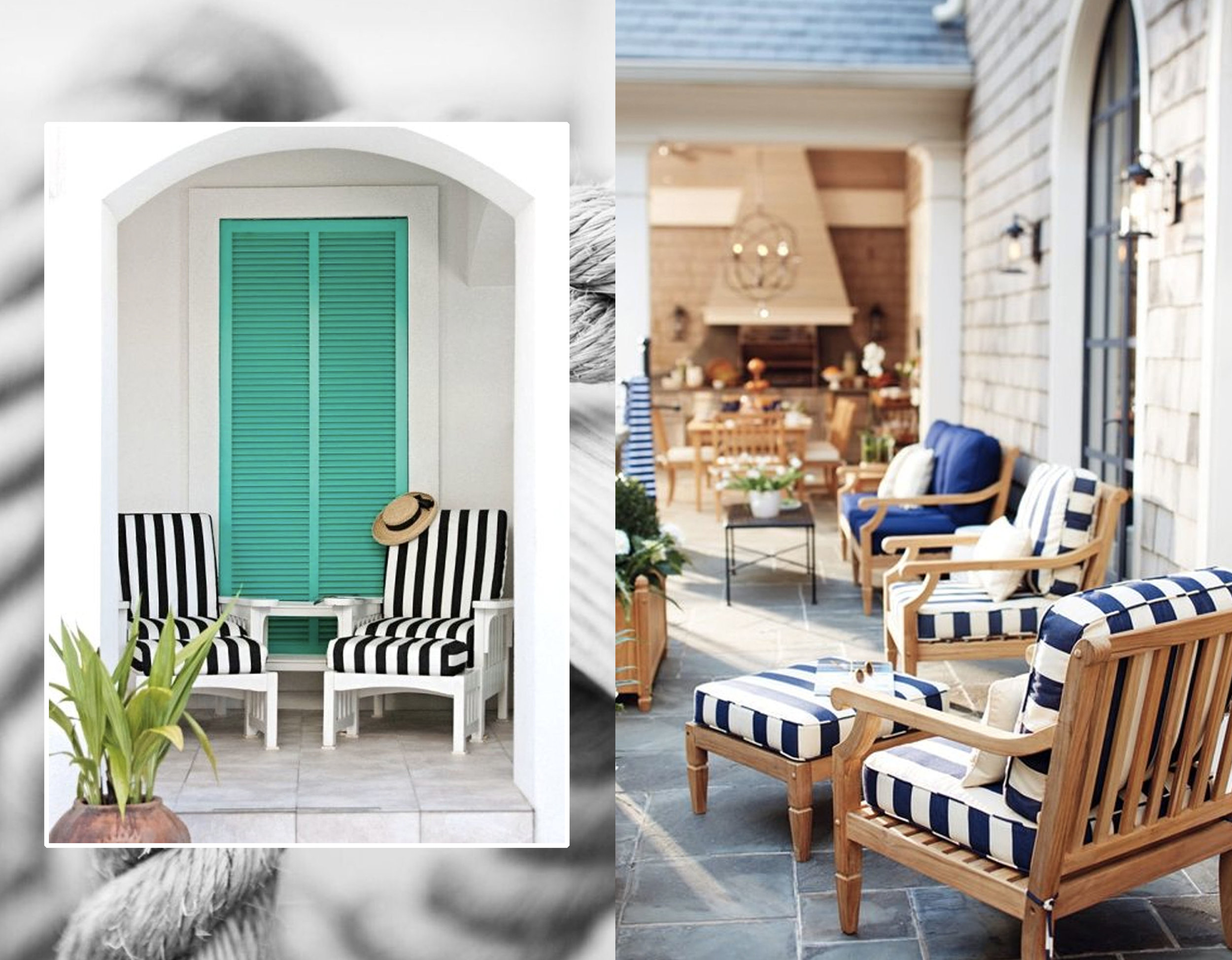 nautical patio with shutters via  Completely Coastal  - nautical patio via  Ballard Design