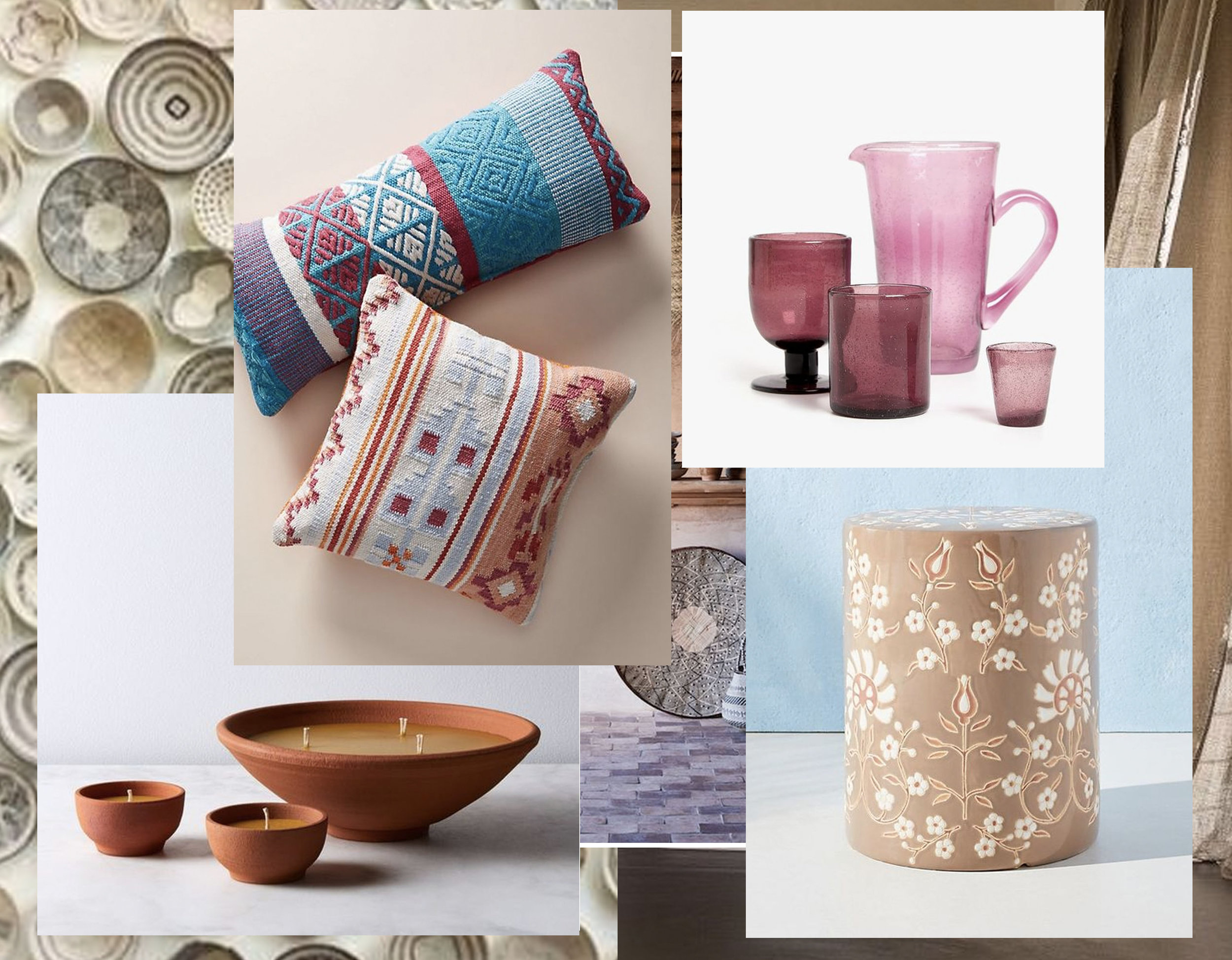 Abria outdoor pillow  Anthropologie  - terracotta bowl candle  Food 52  - Lilac bubble effect glassware  Zara Home  - Mabel side table  Anthropologie