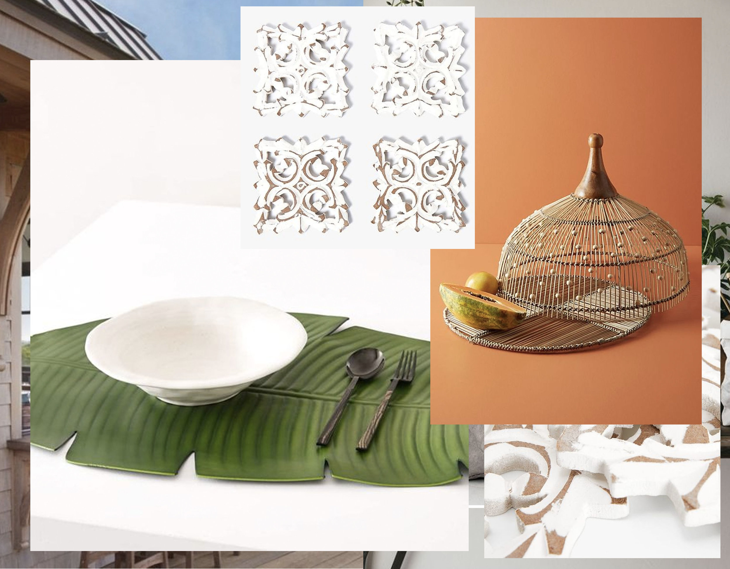 Leaf shaped table runner  Zara Home  - openwork wooden coaster  Zara Home  - Annika food dome  Anthropologie