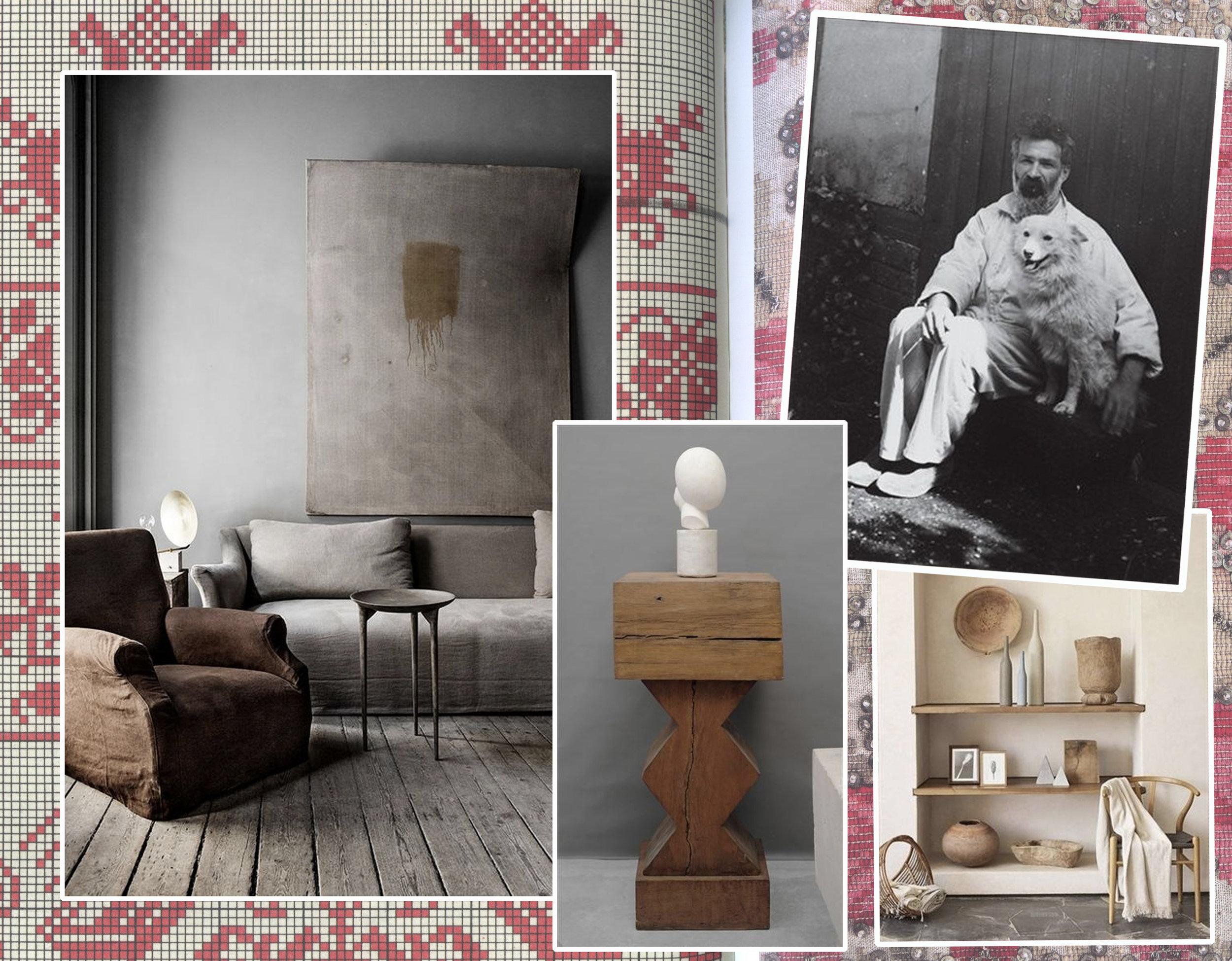 image from  Peasants Museum  Bucarest - living room image via  Apartment Therapy -  Decoration on shelves via  Journelles  -  Brancusi